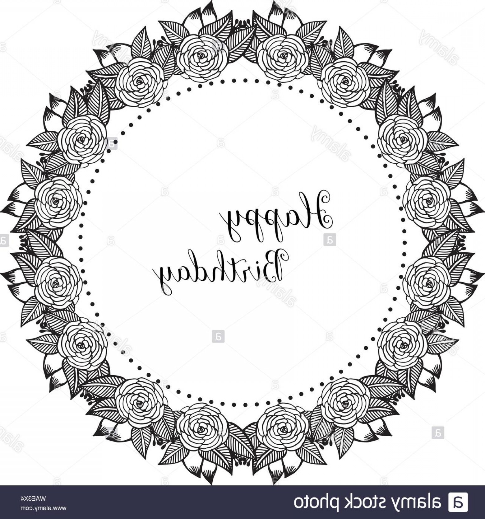 Happy Birthday Vector Art Backdrop: Drawing Unique Flower Frame Isolated On A White Backdrop For Background Of Card Happy Birthday Vector Illustration Image