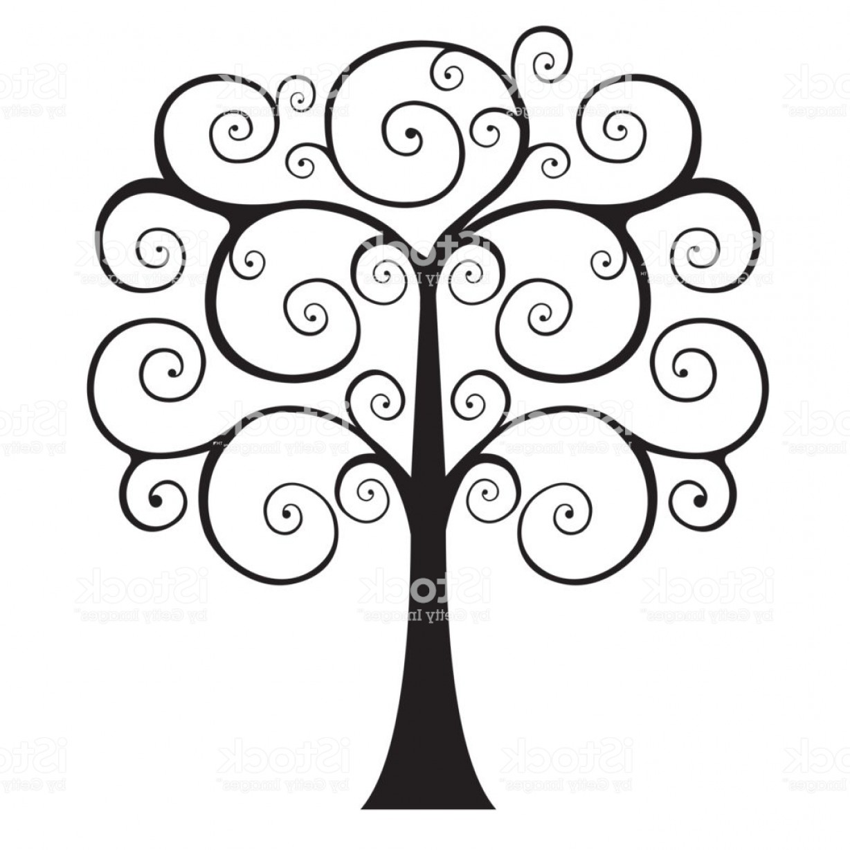 Swirly Christmas Tree Vector: Drawings Of Trees Swirly Tree Download Free Vector