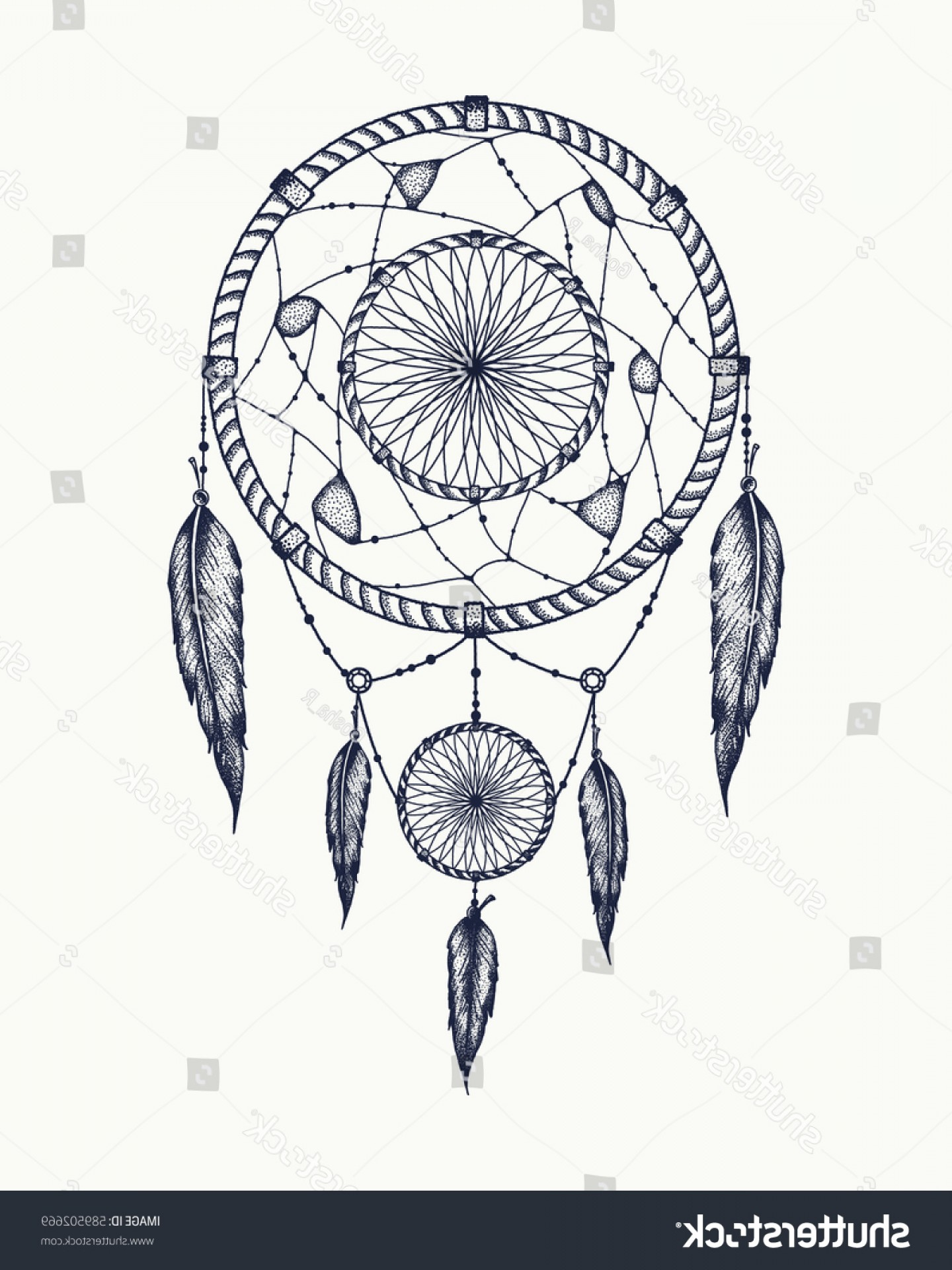 Dreamcatcher Tattoo Vector: Dream Catcher Tattoo Art Dot Works