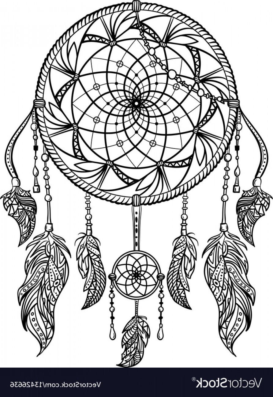 Dreamcatcher Tattoo Vector: Dream Catcher With Ornament Tattoo Art Vector