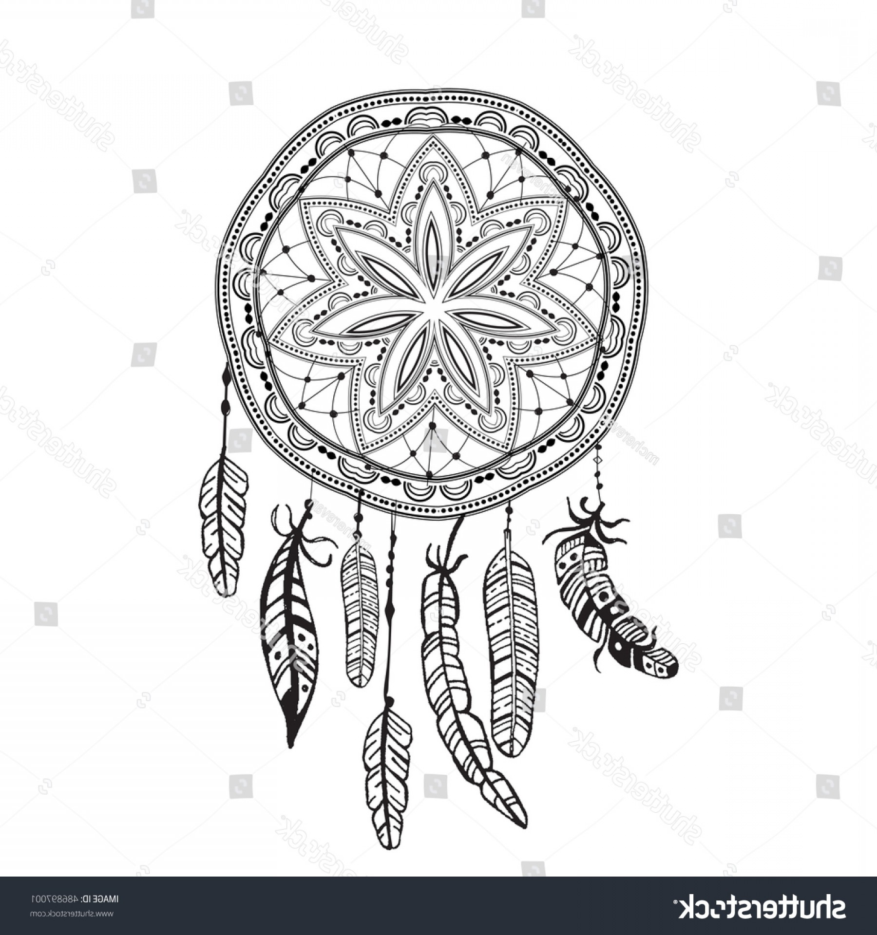 Dreamcatcher Tattoo Vector: Dreamcatcher Detailed Feathers Sketch Tattoo Boho