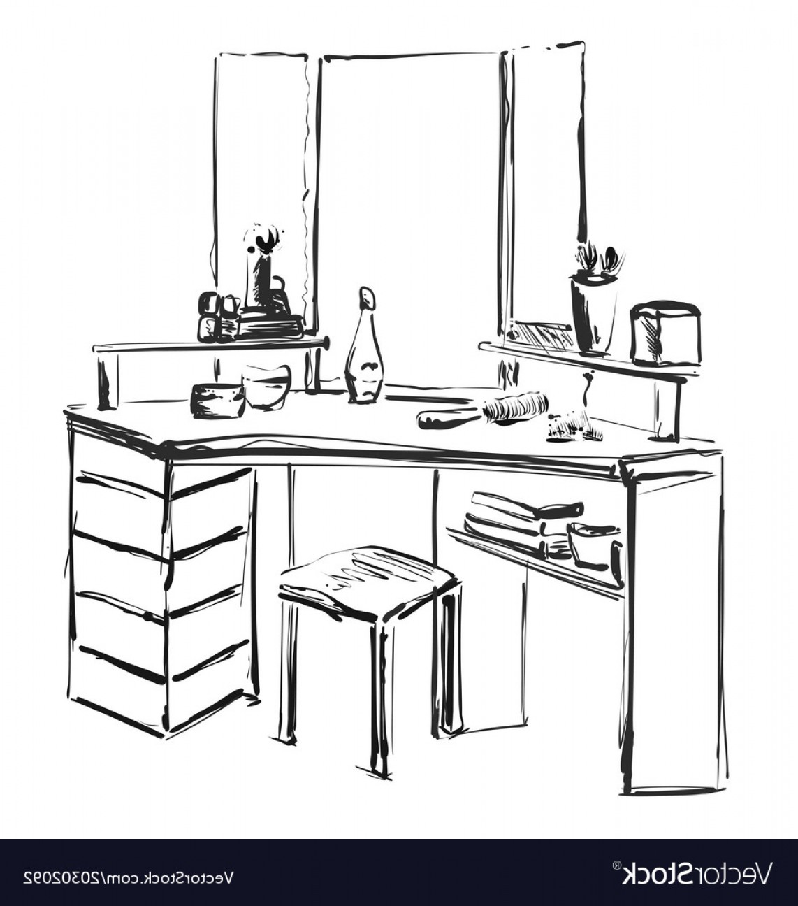 Vector Makeup Vanity Table: Dressing Table With Mirror Sketch Vector