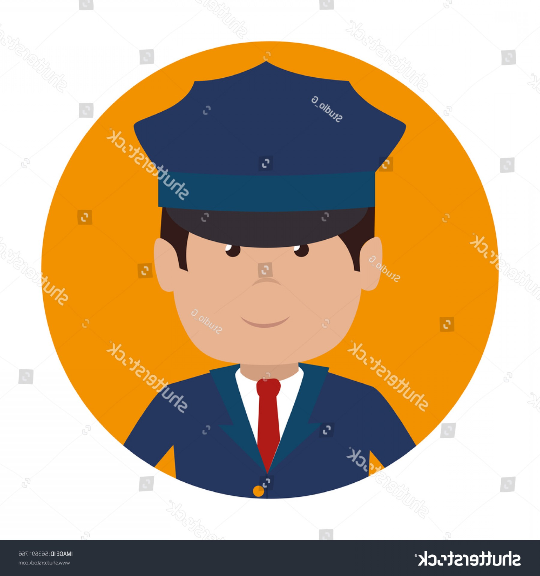 Chauffer Driver Cap Vector: Driver Hotel Service Isolated Icon