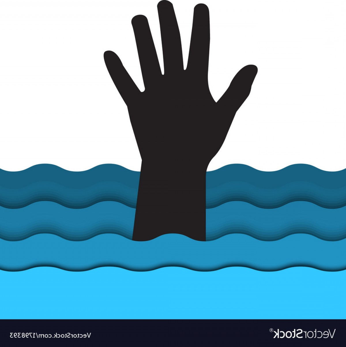 Man Drowning Vector: Drowning Man Hand Sticking Out Of The Water Vector