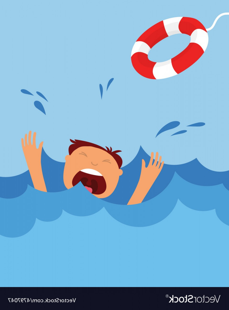 Man Drowning Vector: Drowning Man Screaming For Help Summer Danger Vector