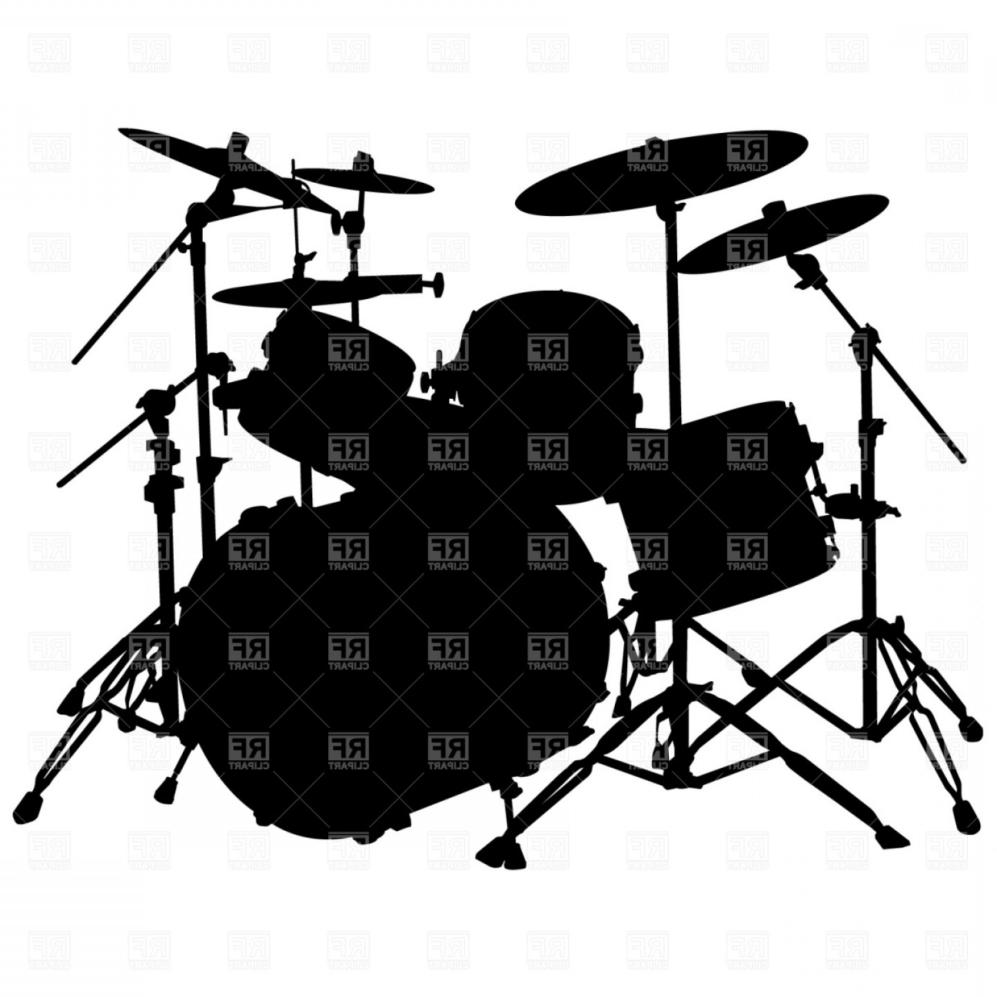 Drum Vector Art: Drum Kit Silhouette Vector Clipart