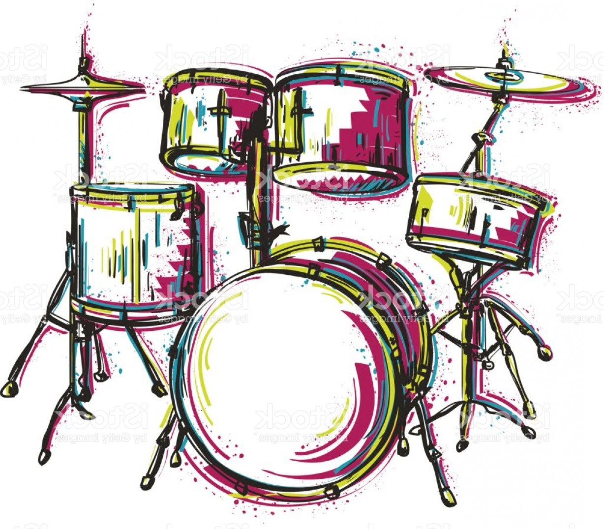 Drum Vector Art: Drum Kit With Splashes In Watercolor Style Gm