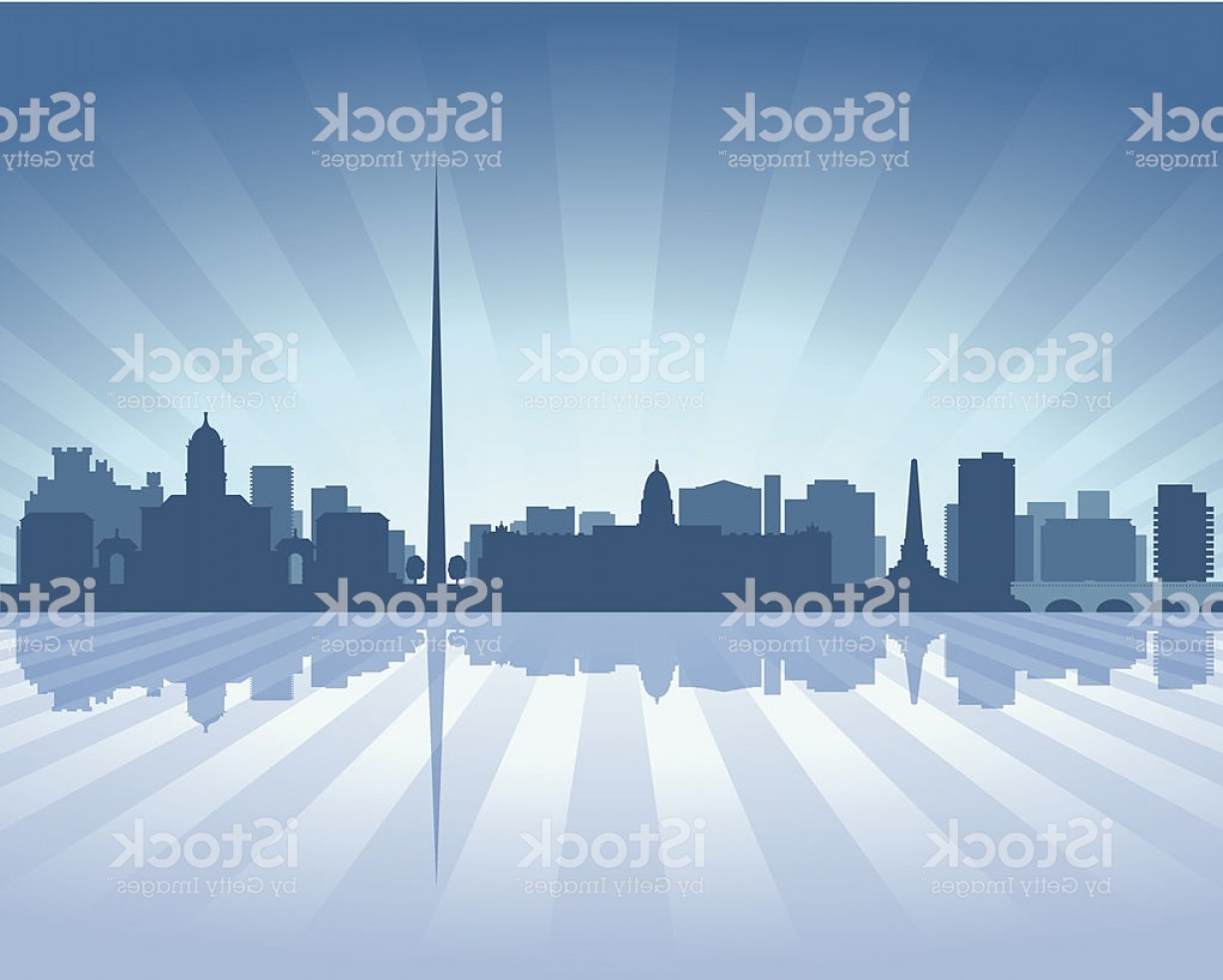 Wicked Boston Skyline Silhouette Vector: Dublin Ireland Blue City Skyline Silhouette Gm