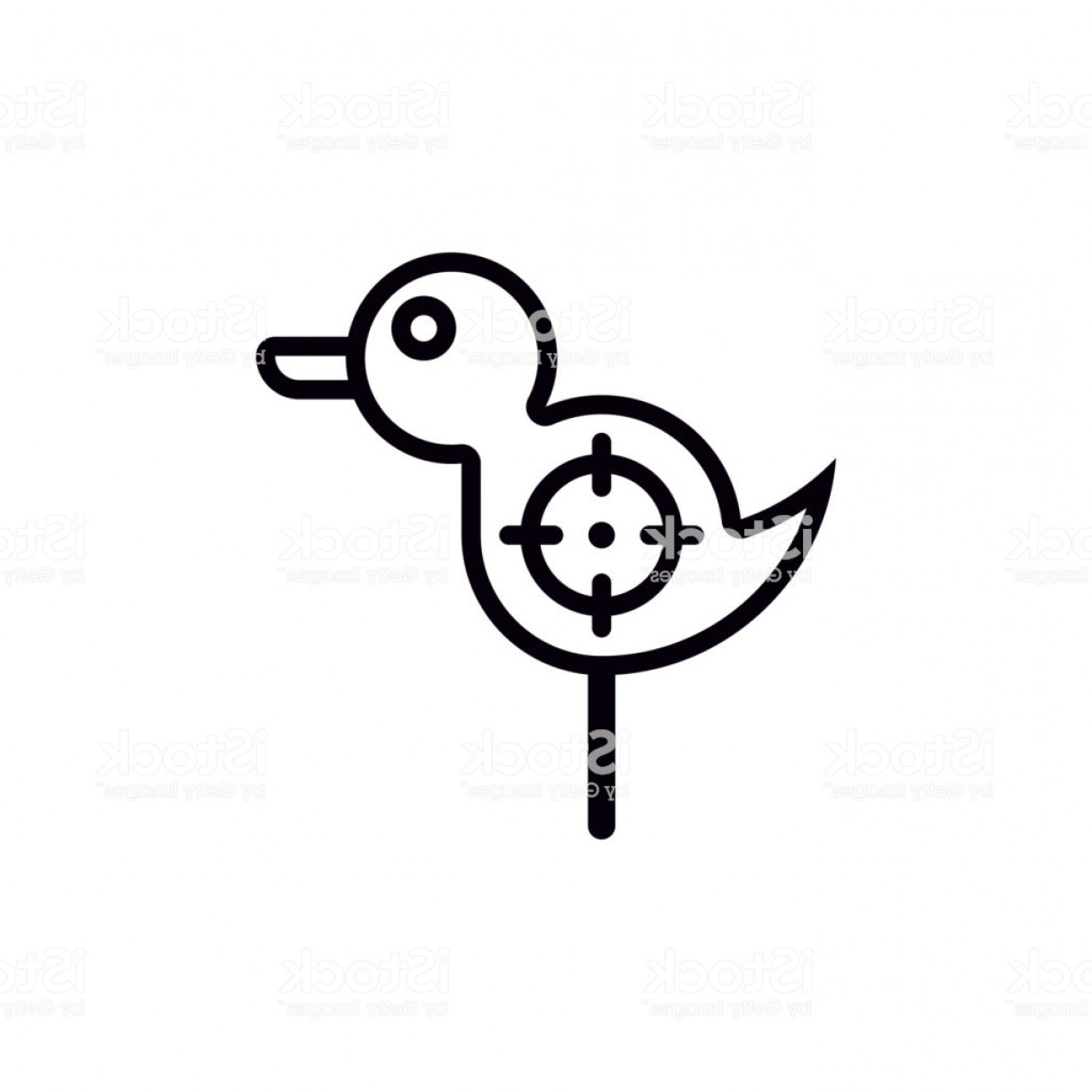 Shot Duck Outline Vector: Duck Shooting Vector Icon Gm