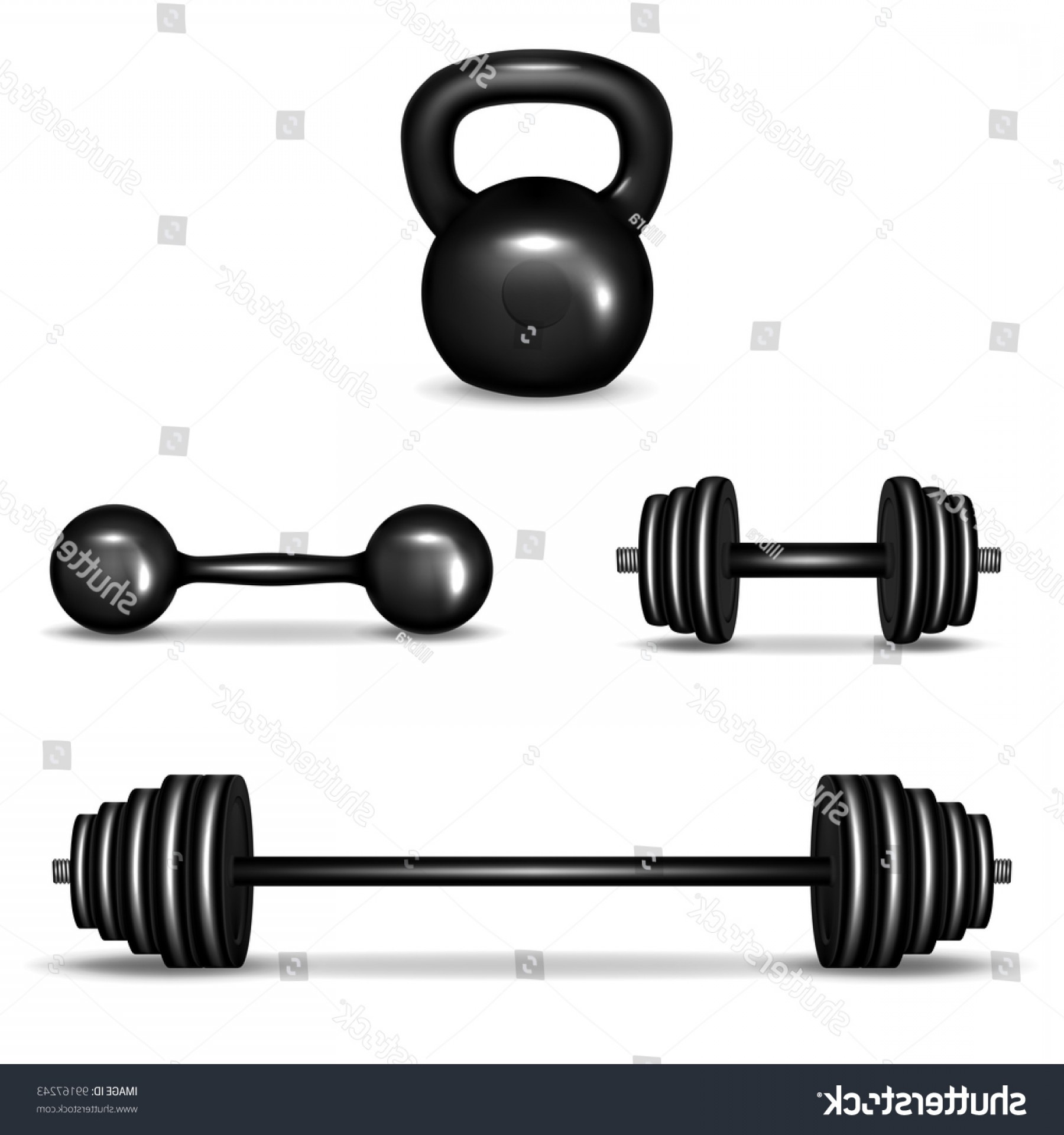 Bumper Barbell Vector: Dumbbell And Barbell Home Based Workout