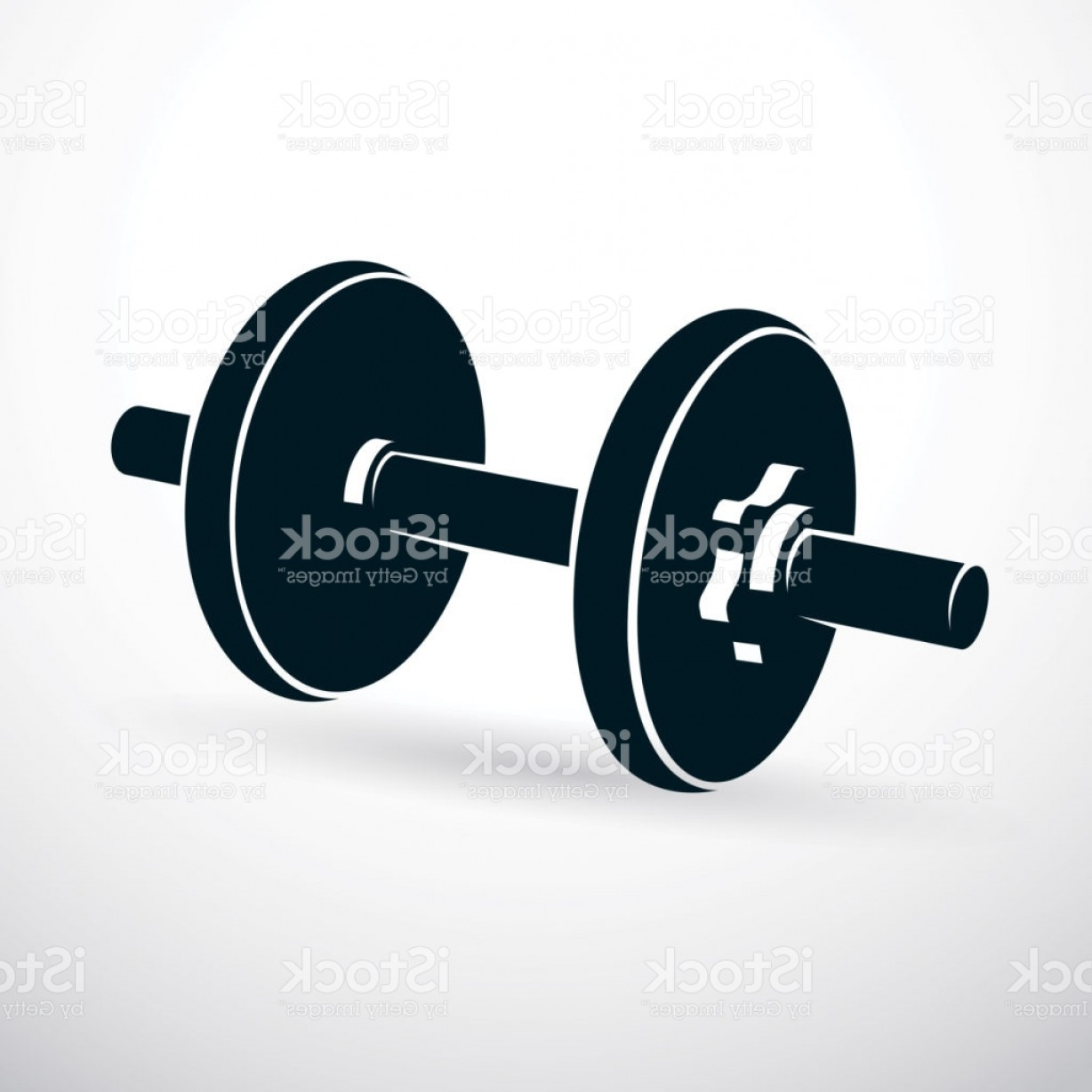 Vector Weight Lifting: Dumbbell Vector Illustration Isolated On White Composed With Disc Weight Sport Gm