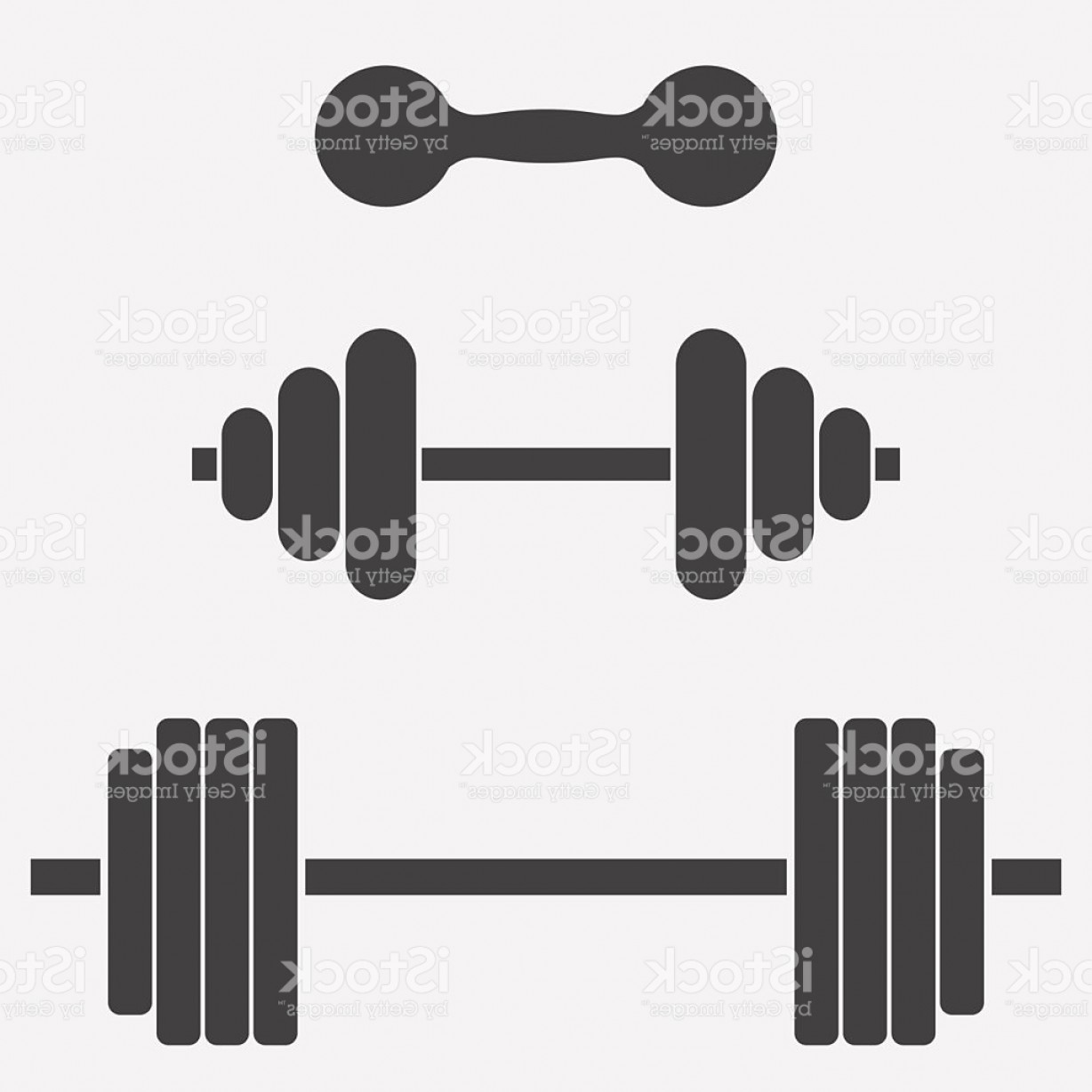 Weightlifter Vector Art: Dumbbells And Barbells Set For Sports Weightlifting Bodybuilding Gm