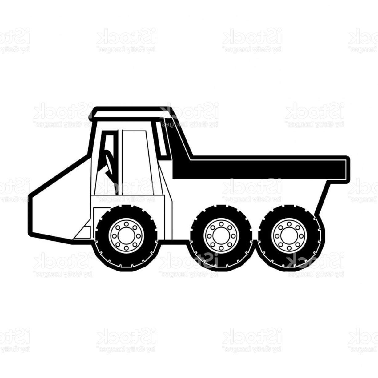 Dump Truck Vector Black And White: Dump Truck Vector Illustration Gm
