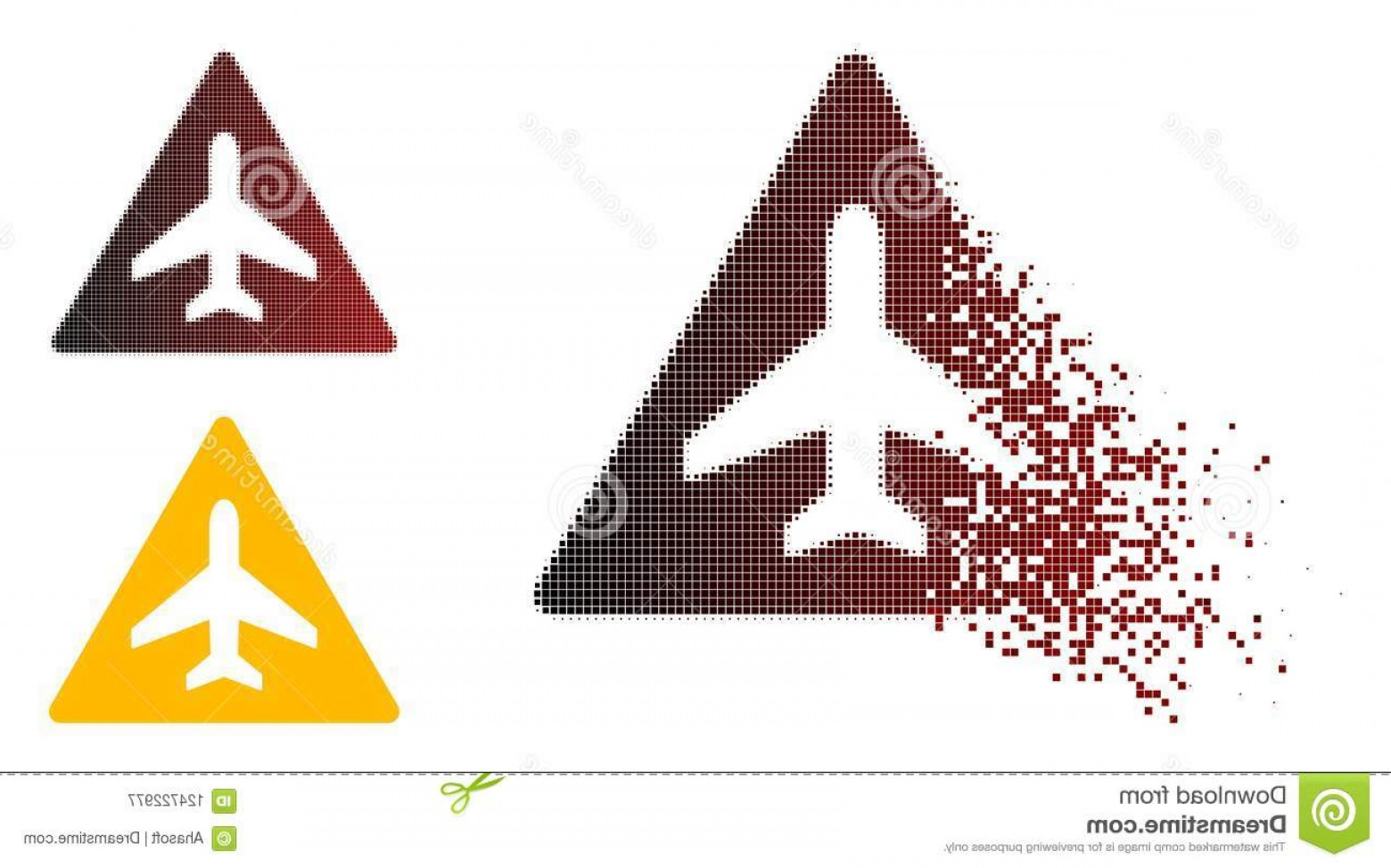 Vector Airplane Problem: Dust Pixel Halftone Airplane Problem Icon Airplane Problem Icon Dissolved Pixelated Halftone Undamaged Solid Variants Image