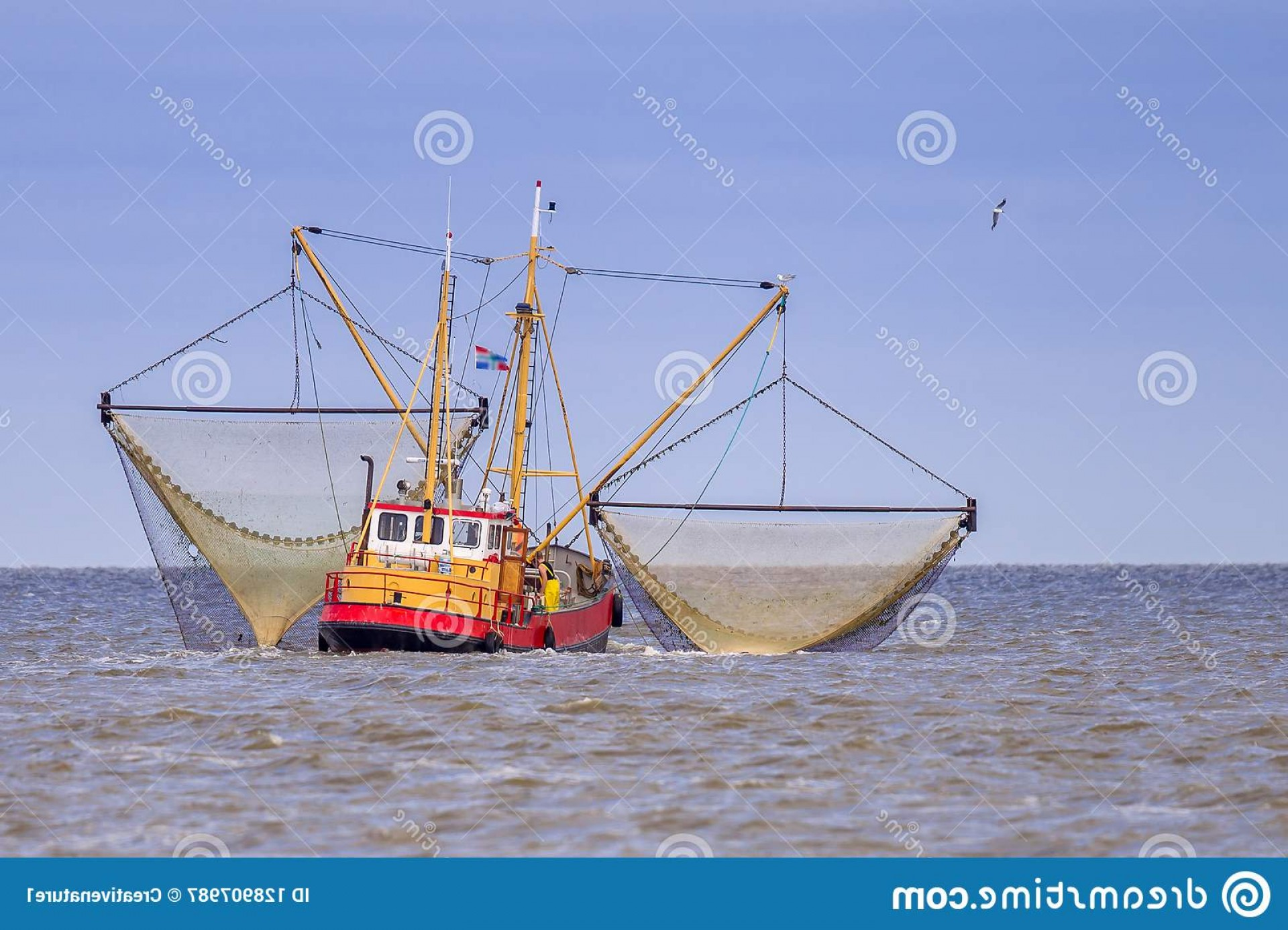 Vector Art Shrimper: Dutch Shrimp Fishing Cutter Vessel Action Wadden Sea Image