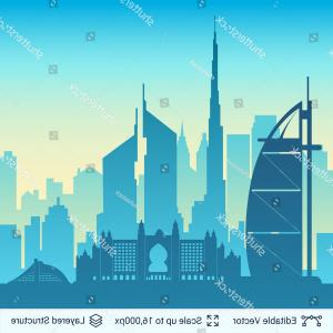 Famous Easy Vectors: Dubai Famous City Scape Flat Well