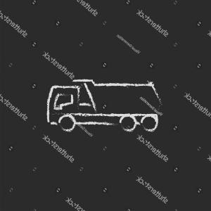 Dump Truck Vector Black And White: Dump Truck Hand Drawn Chalk On