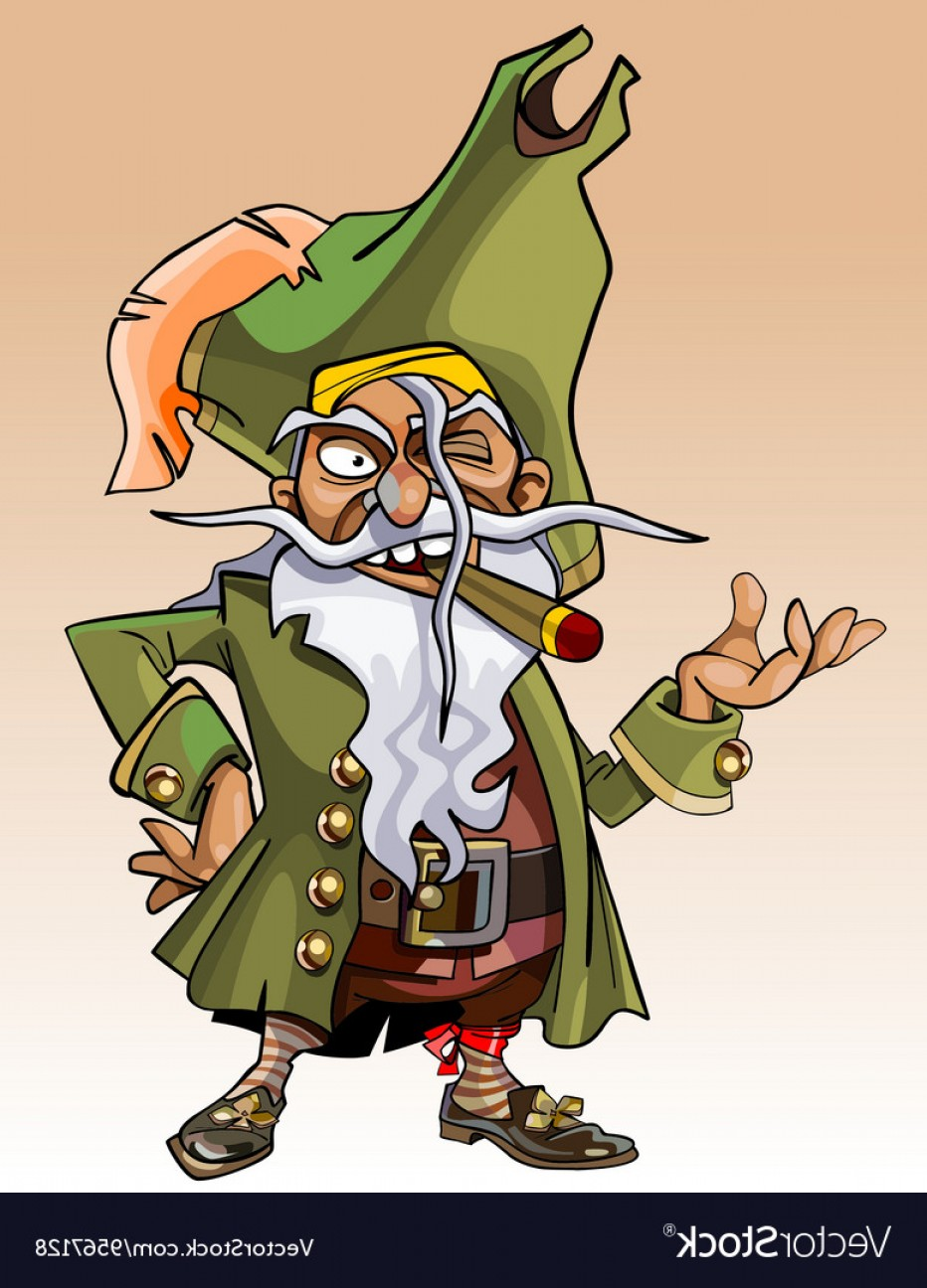 Cigar Cartoon Vector: Dwarf Cartoon Character Pirate With A Cigar Vector