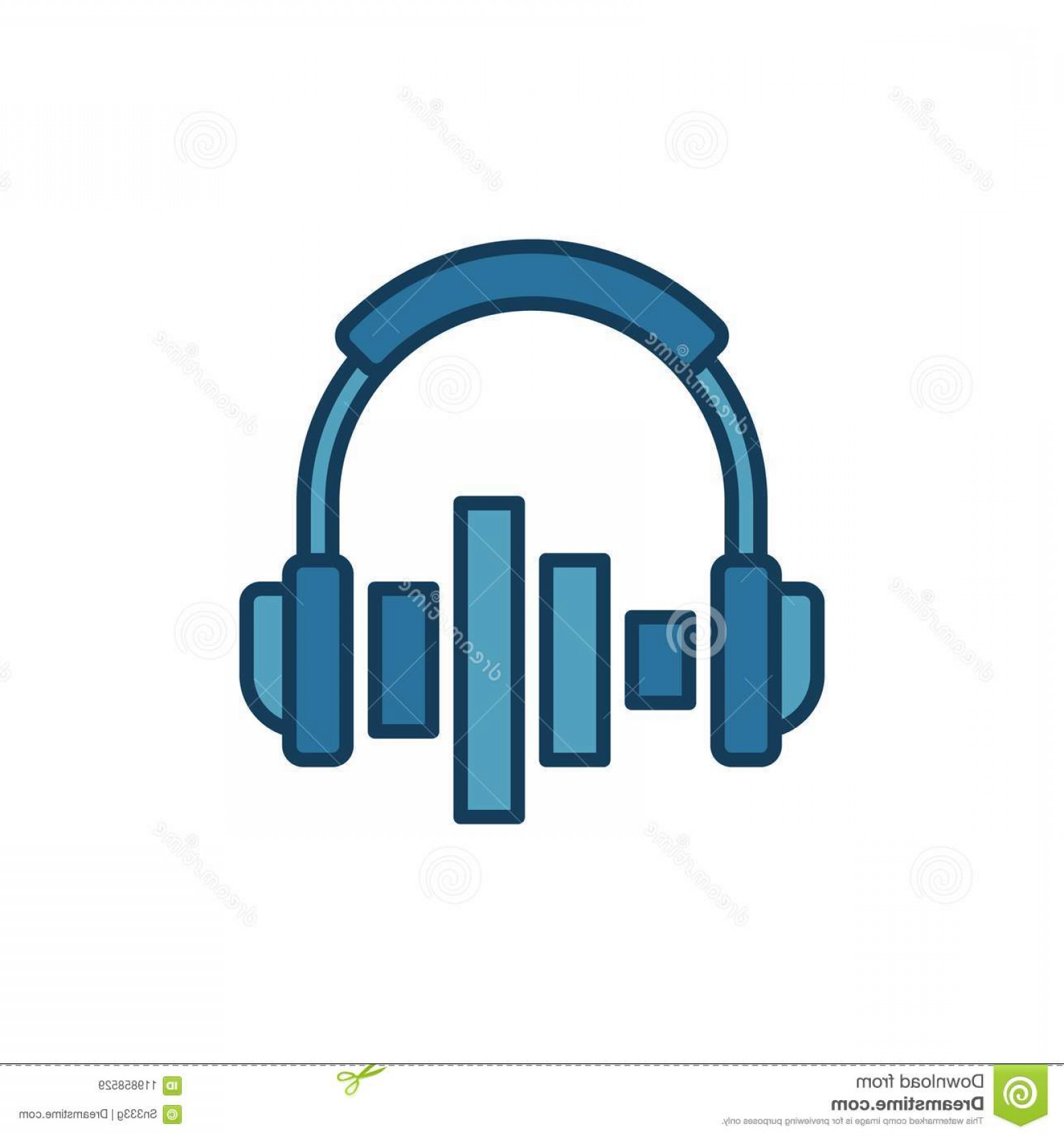 Equalizer Vector Icons: Ear Headphones Equalizer Vector Icon Symbol White Background Image