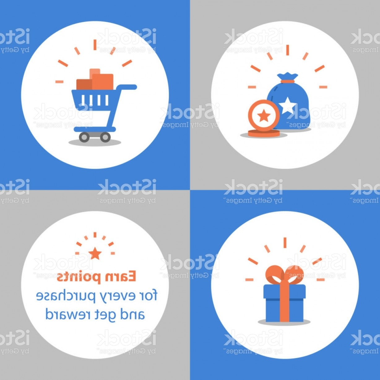 Purchase Vector Art: Earn Points For Purchase Loyalty Program Reward Concept Full Shopping Cart Redeem Gm