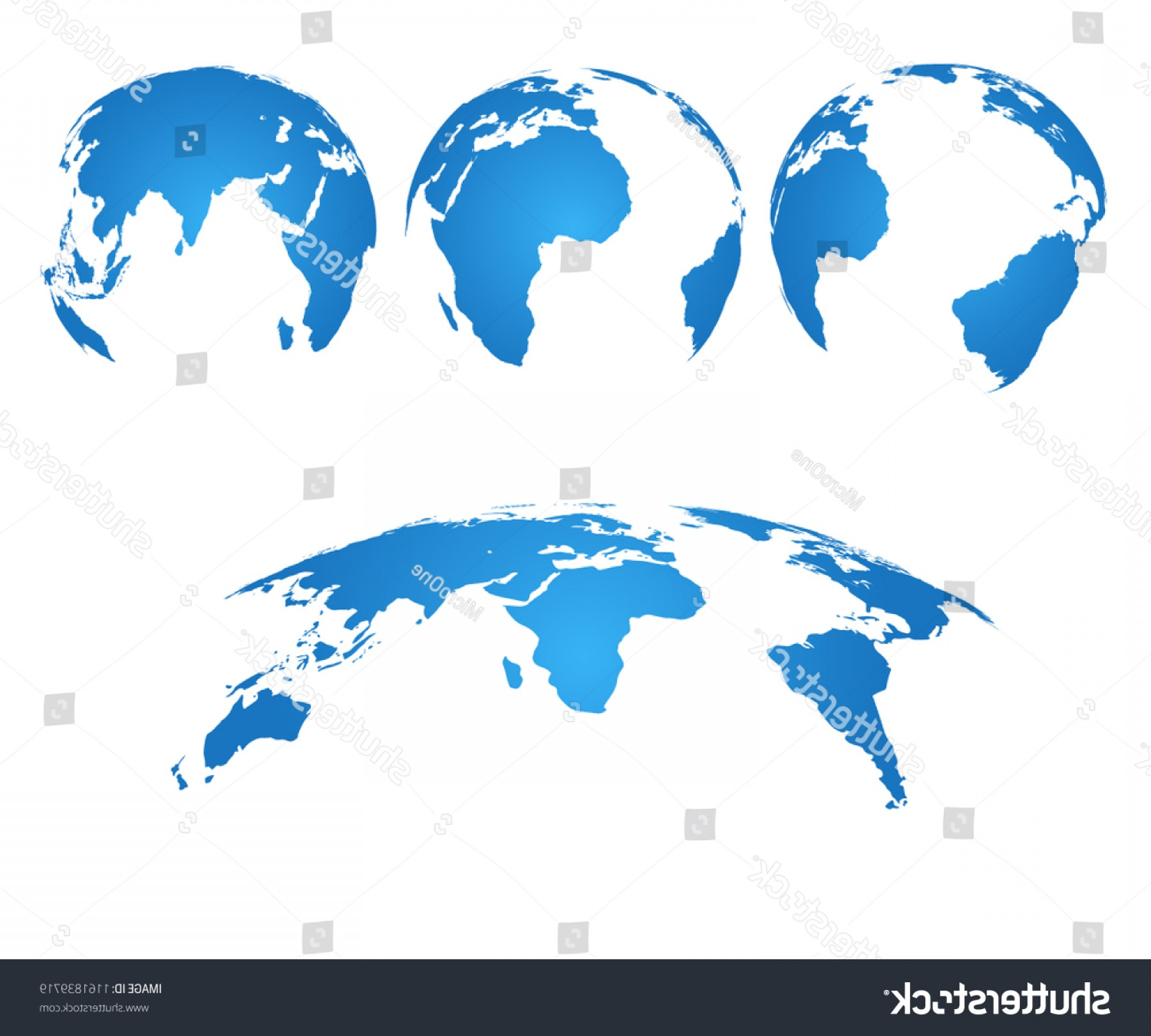 One Color Simple Vector Globe: Earth Globe D World Map Silhouette