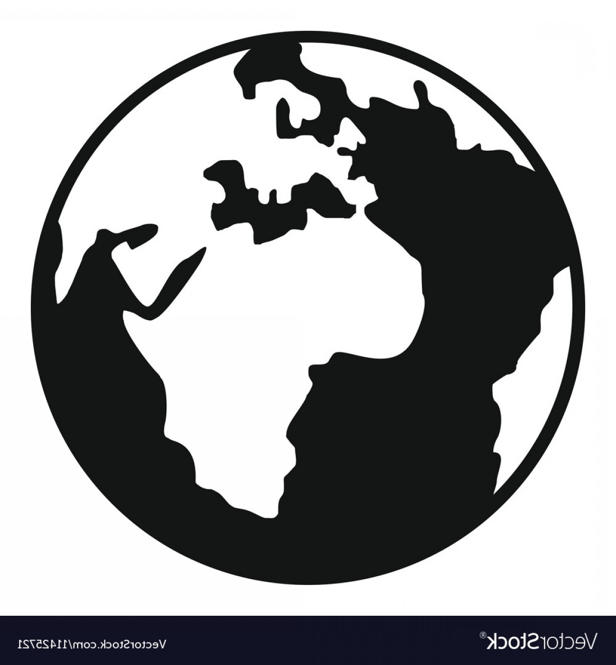 World Icon Vector Simple: Earth Globe Icon Simple Style Vector