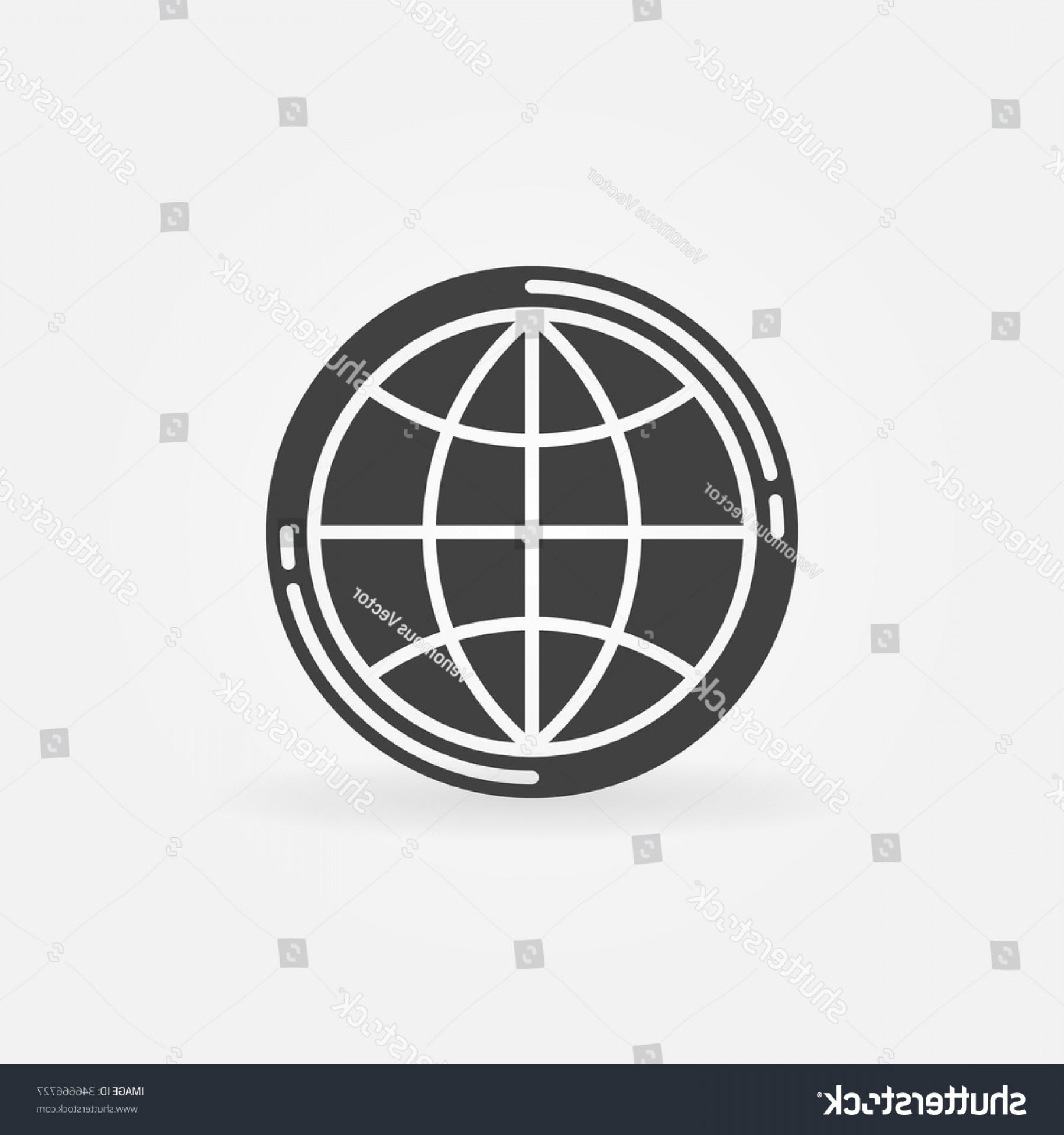 World Icon Vector Simple: Earth Globe Icon Vector Simple Symbol