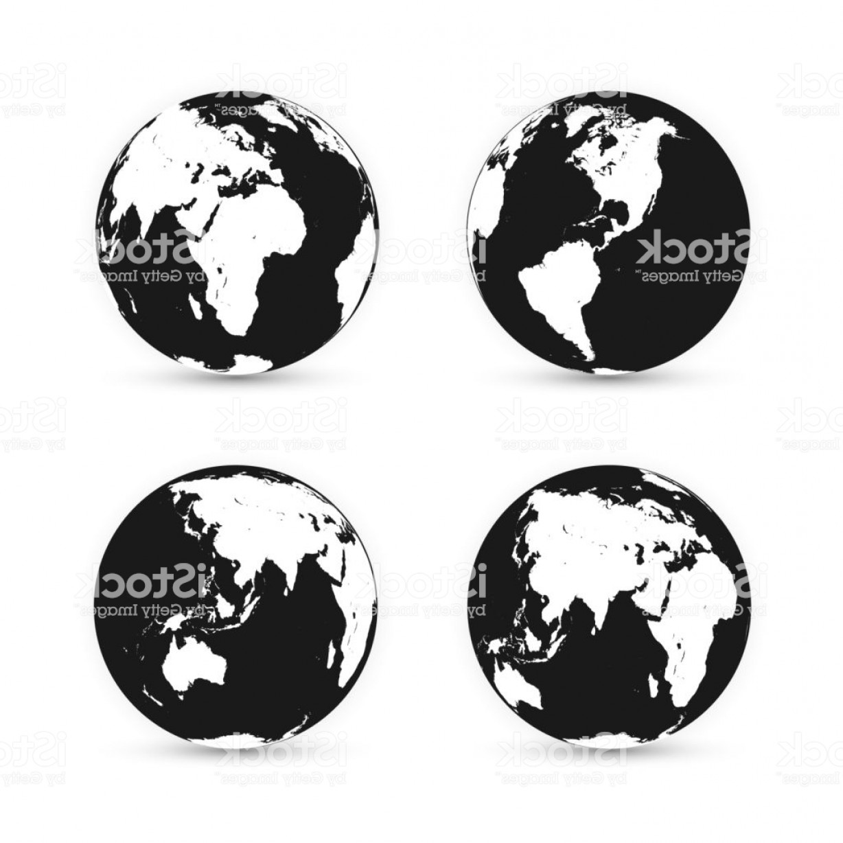 One Color Simple Vector Globe: Earth Globe World Map Set Planet With Continents Vector Illustration Gm