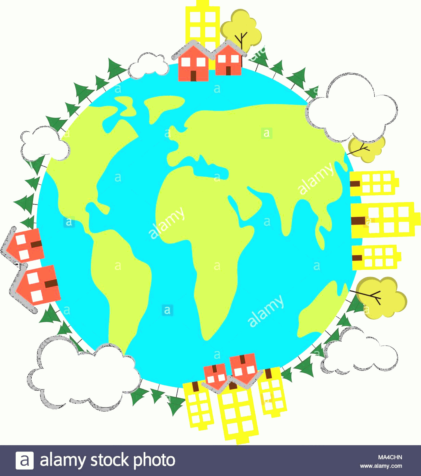 Earth With Buildings Vector: Earth With Buildings Icon Earth Day Image