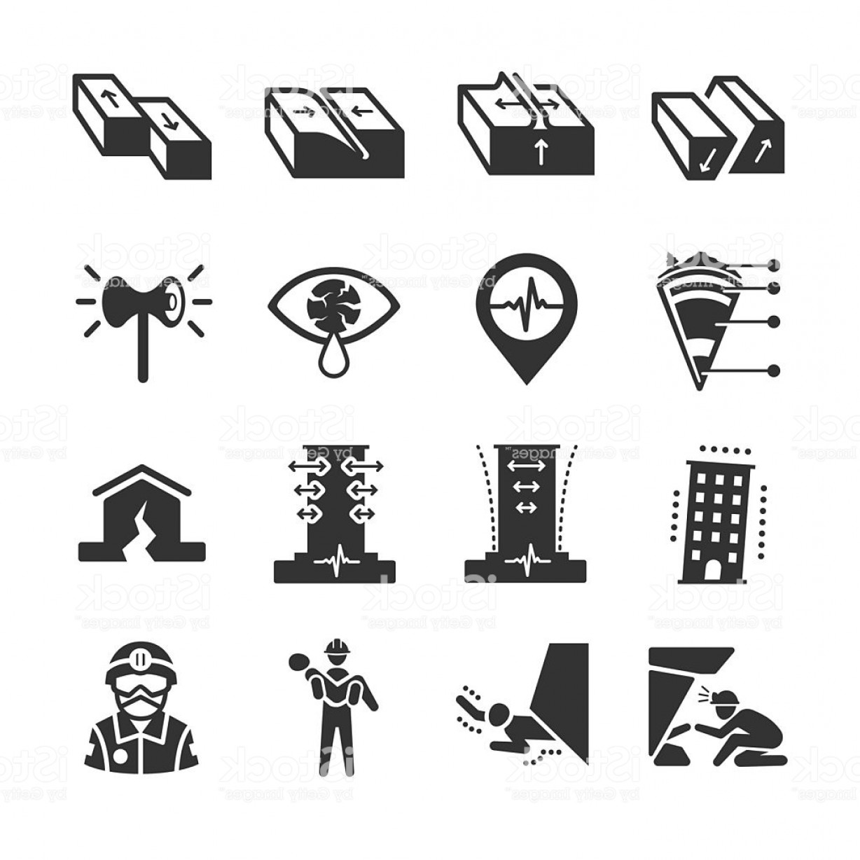 Earthquake Rescue Vector: Earthquake And Geology Icons Gm