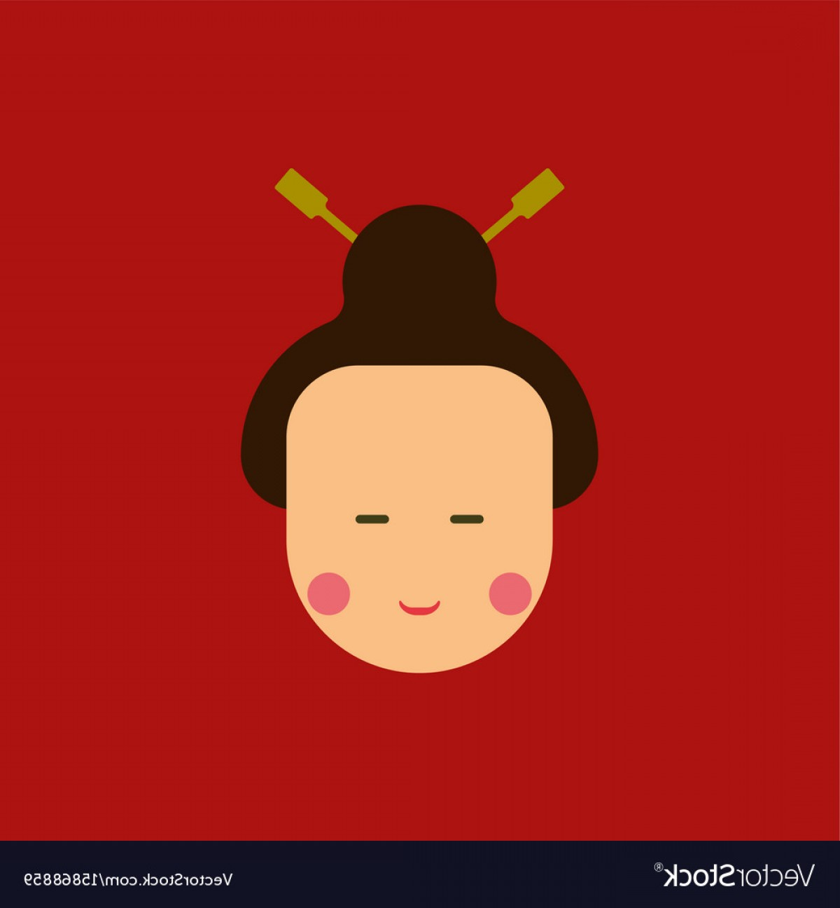 Chinese Geisha Pin Up Vector Art: East Woman Of Chinese New Year Vector