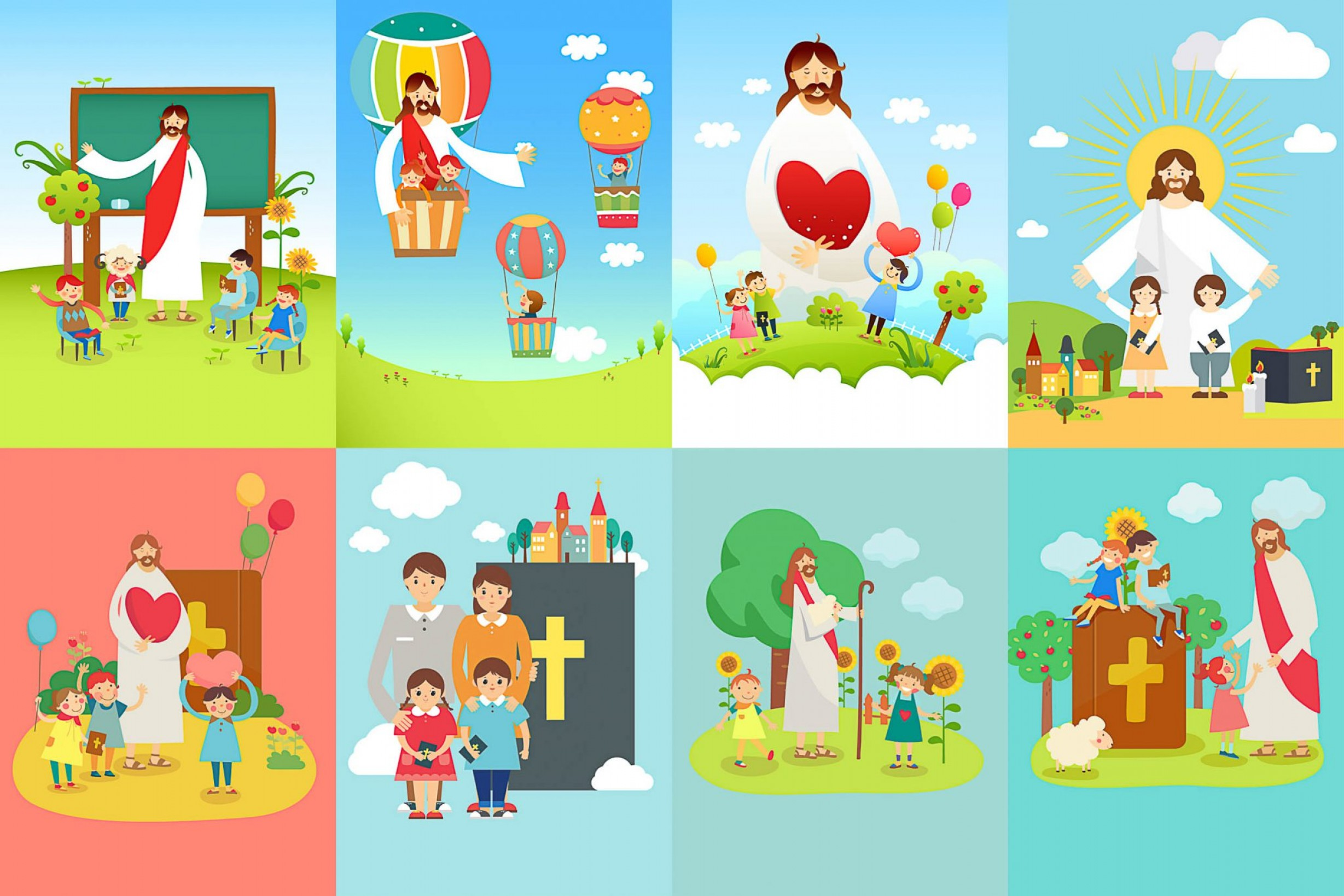 Religious Easter Vector Files: Easter Backgrounds With Jesus Church And Childrens Vector