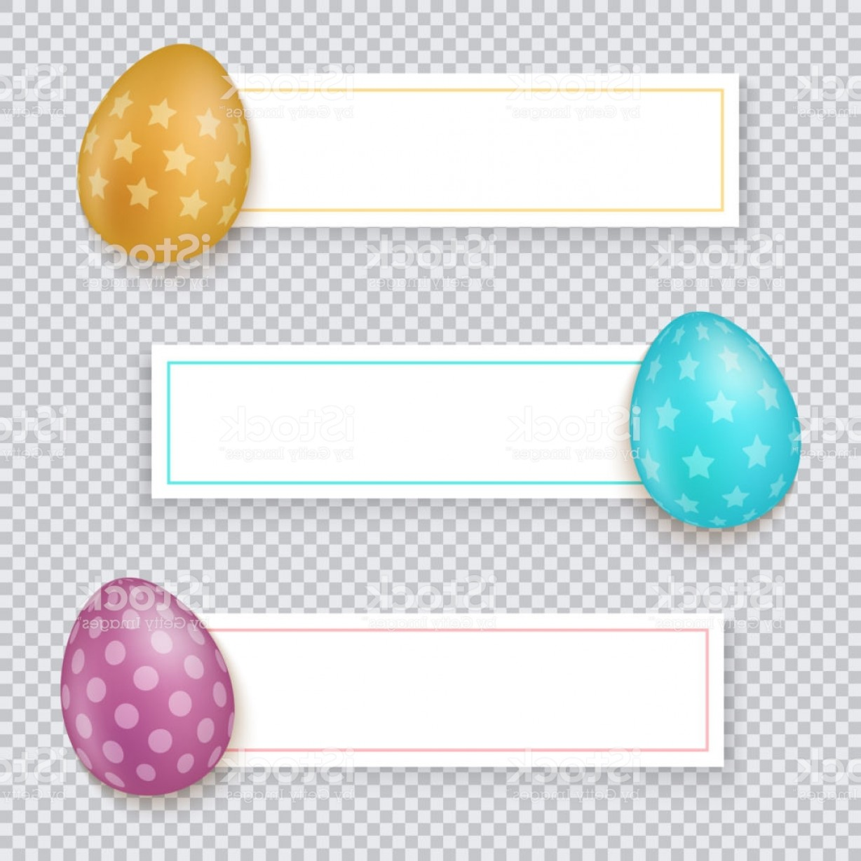 Easter Vector Art No Background: Easter Banners Set Easter Banners With Multicolored Eggs On Transparent Background Gm