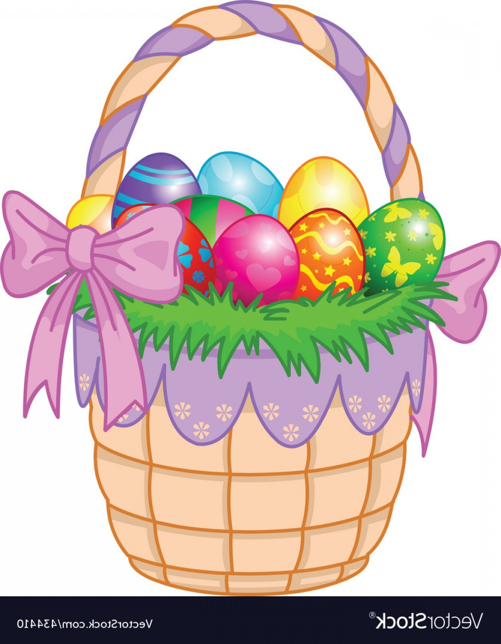 Vector Easter Egg Basket: Easter Basket With Colorful Eggs Vector