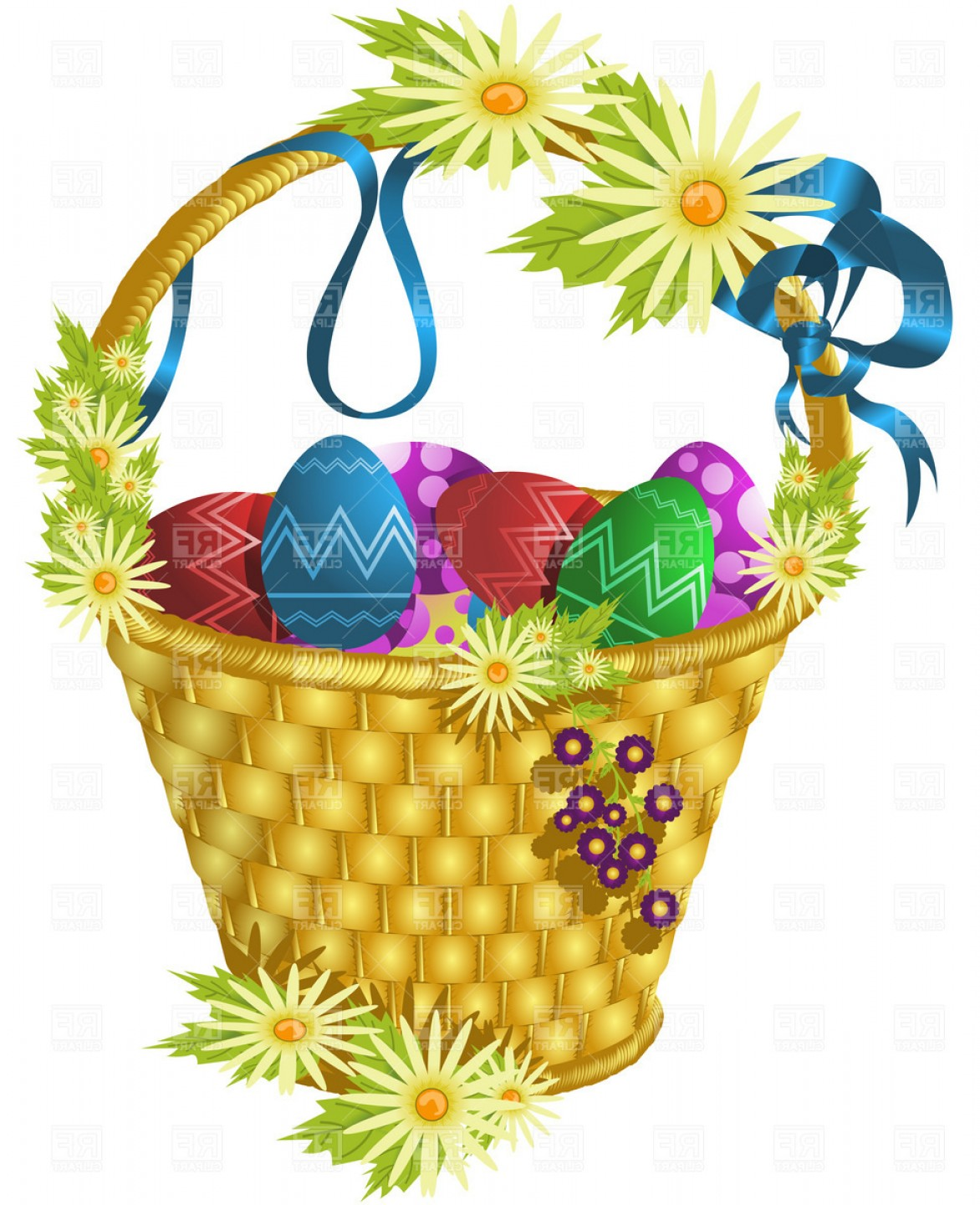 Vector Easter Egg Basket: Easter Basket With Eggs And Flowers Vector Clipart