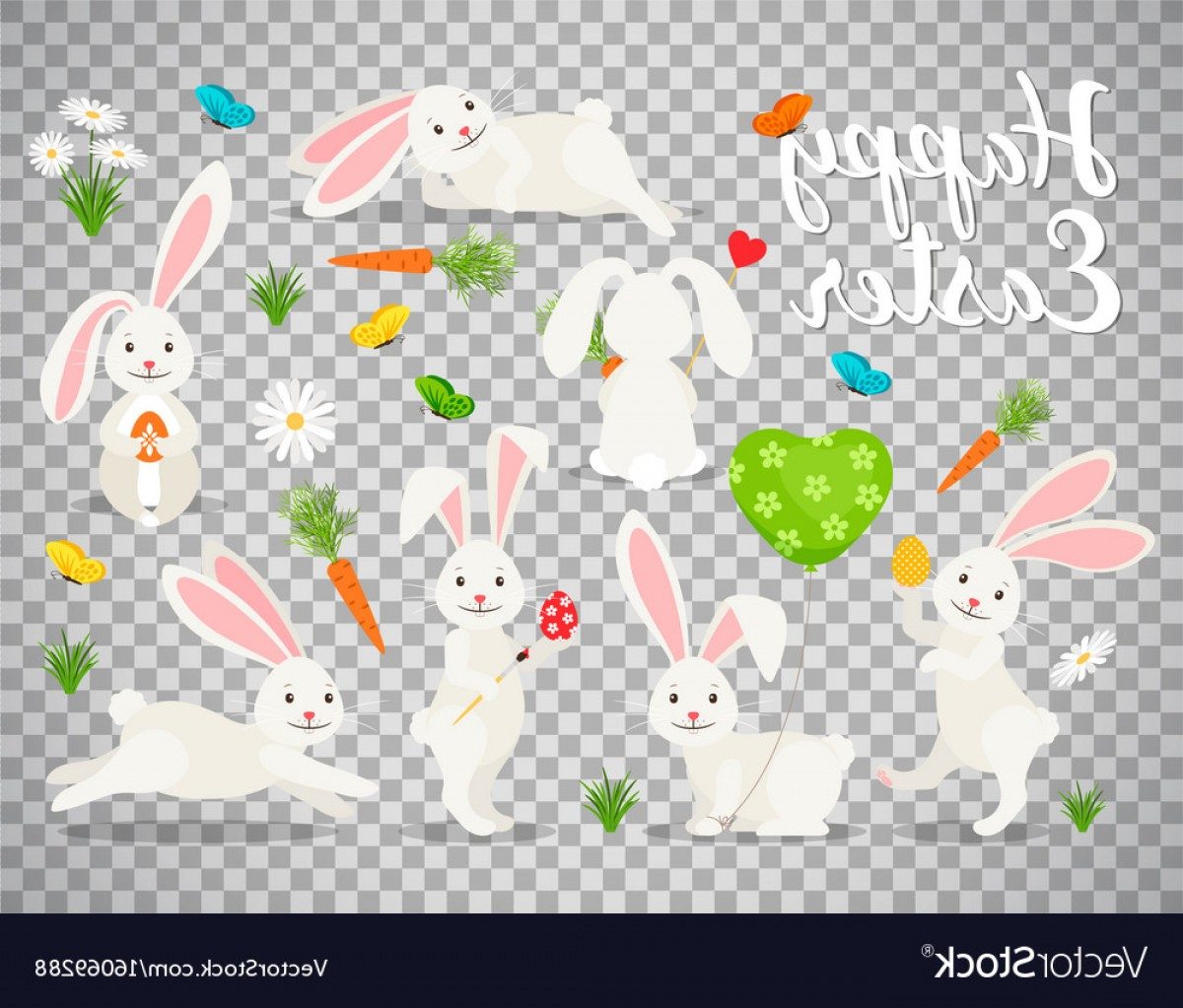 Easter Vector No Background: Easter Bunny Set On Transparent Background Vector