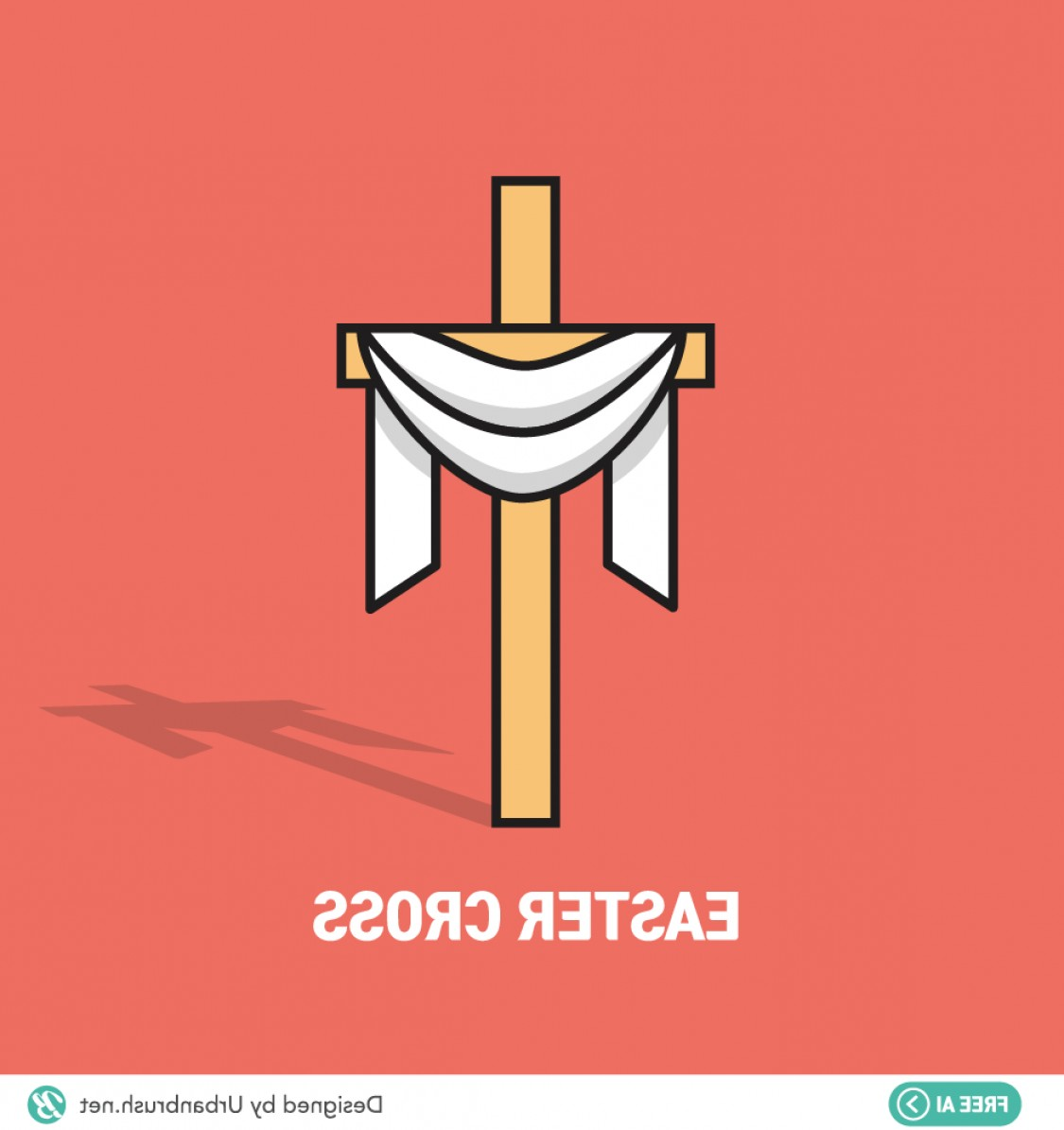Easter Cross Vector: Easter Cross Ai Free Vector Download