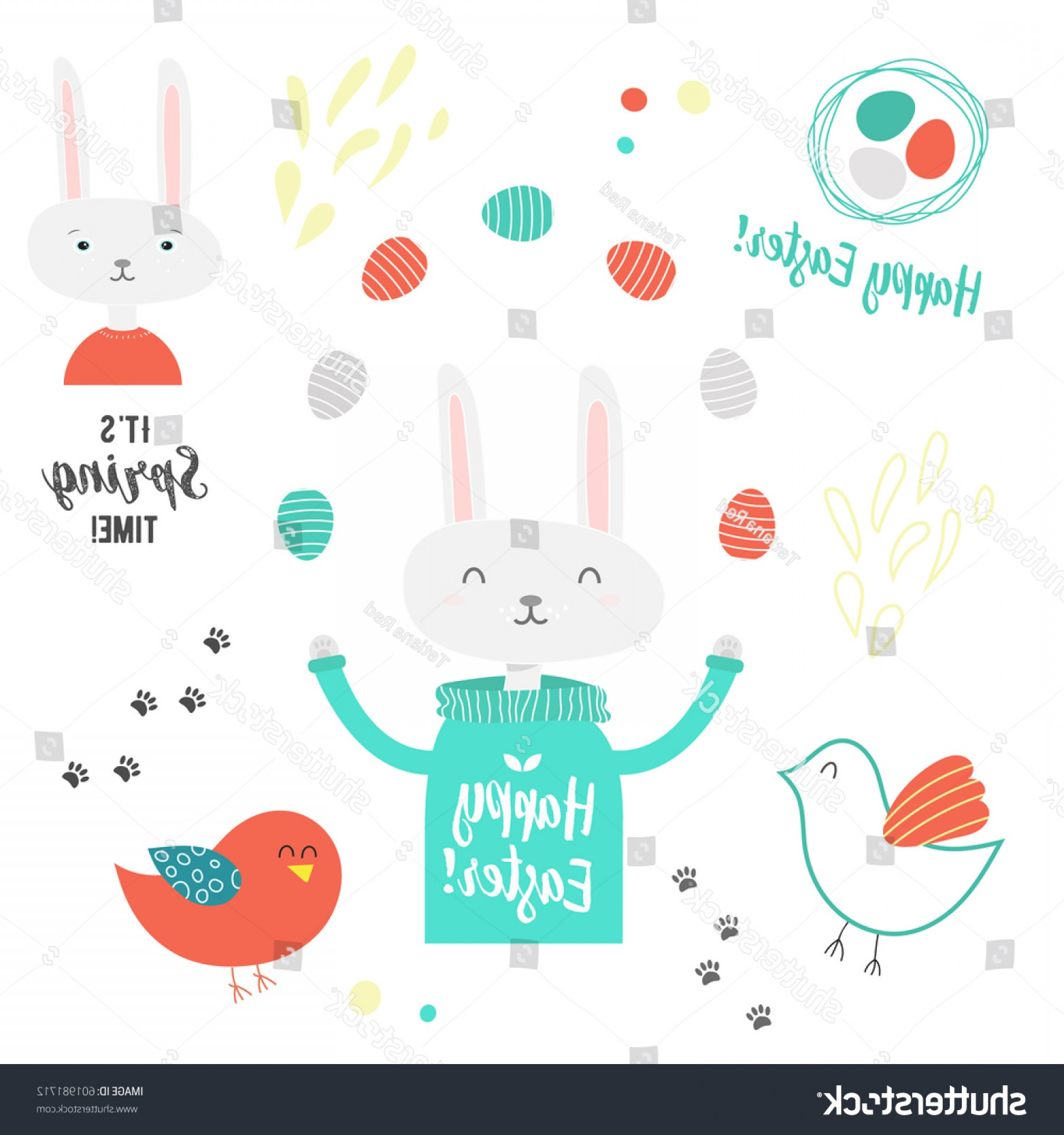 Cute Design Elements Vector Set: Easter Design Elements Vector Set On