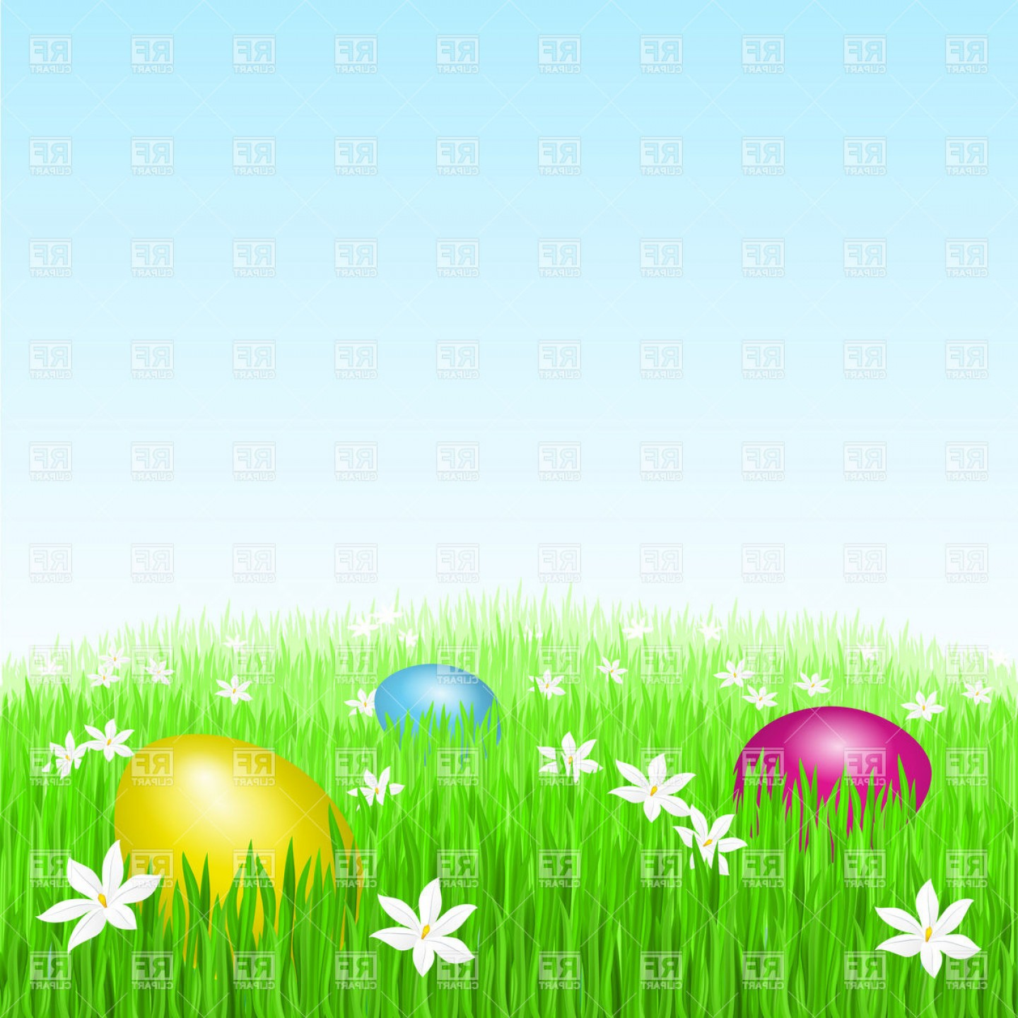 Easter Vector Art No Background: Easter Eggs On Green Grass Vector Clipart