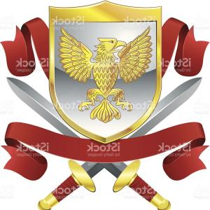 Vector Eagle Shield Sword: Eagle And Crossed Swords Coat Of Arms Vector