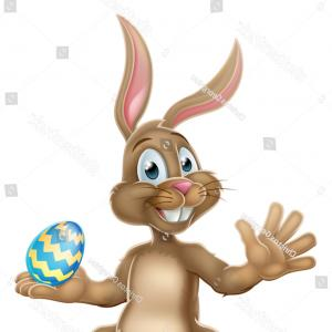 Chocolate Bunny Vector: Easter Bunny Rabbit Holding Chocolate Egg