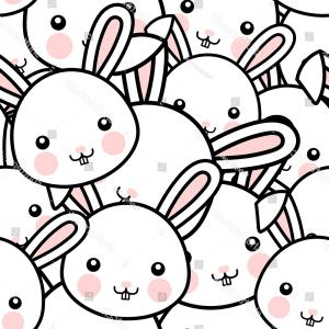 Vector Easter Rabbit Face: Cute Cartoon Bunny Girl Face Vector