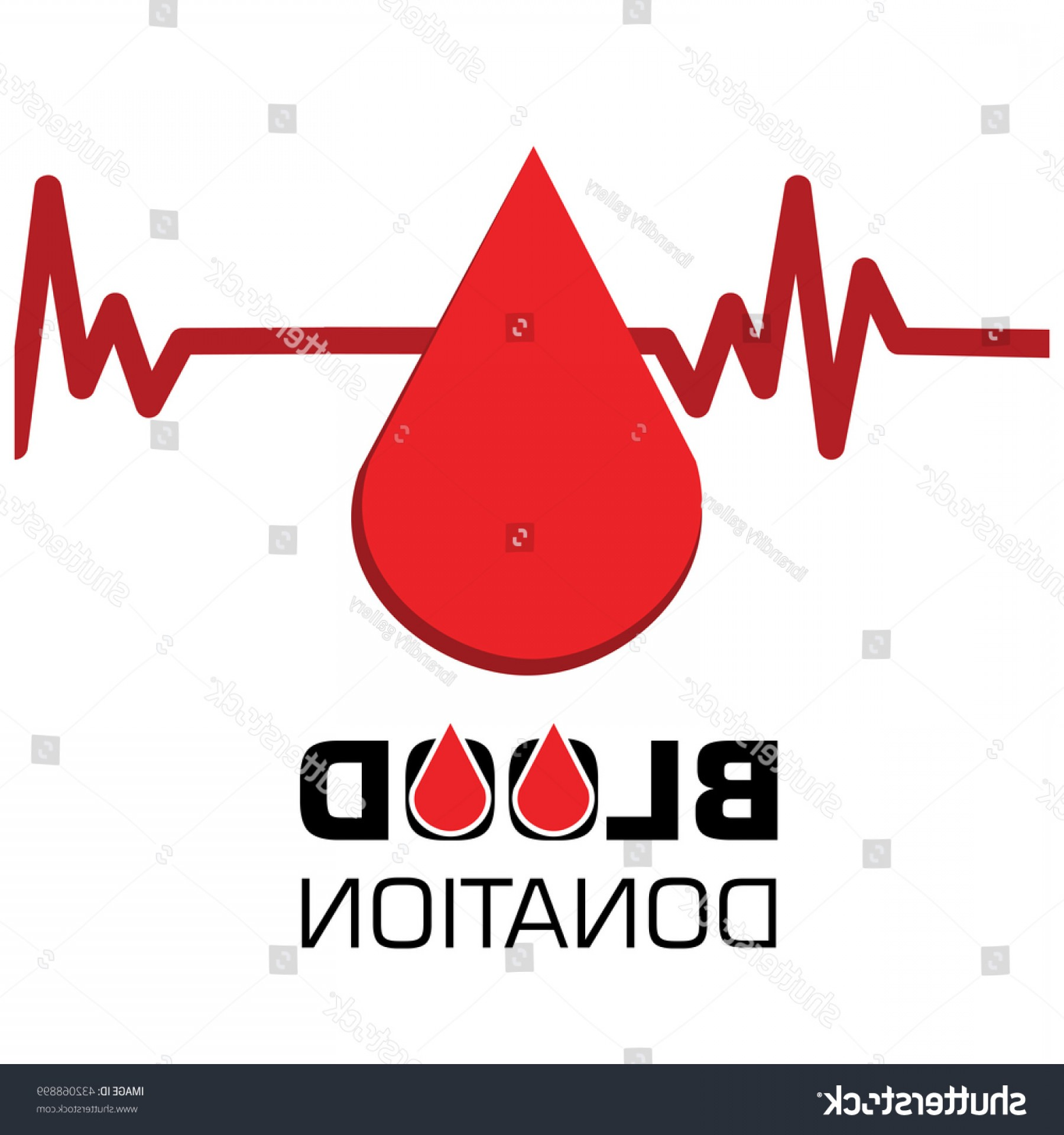 Positive EKG Vectors: Ecg Blood Drop Donation Concept World
