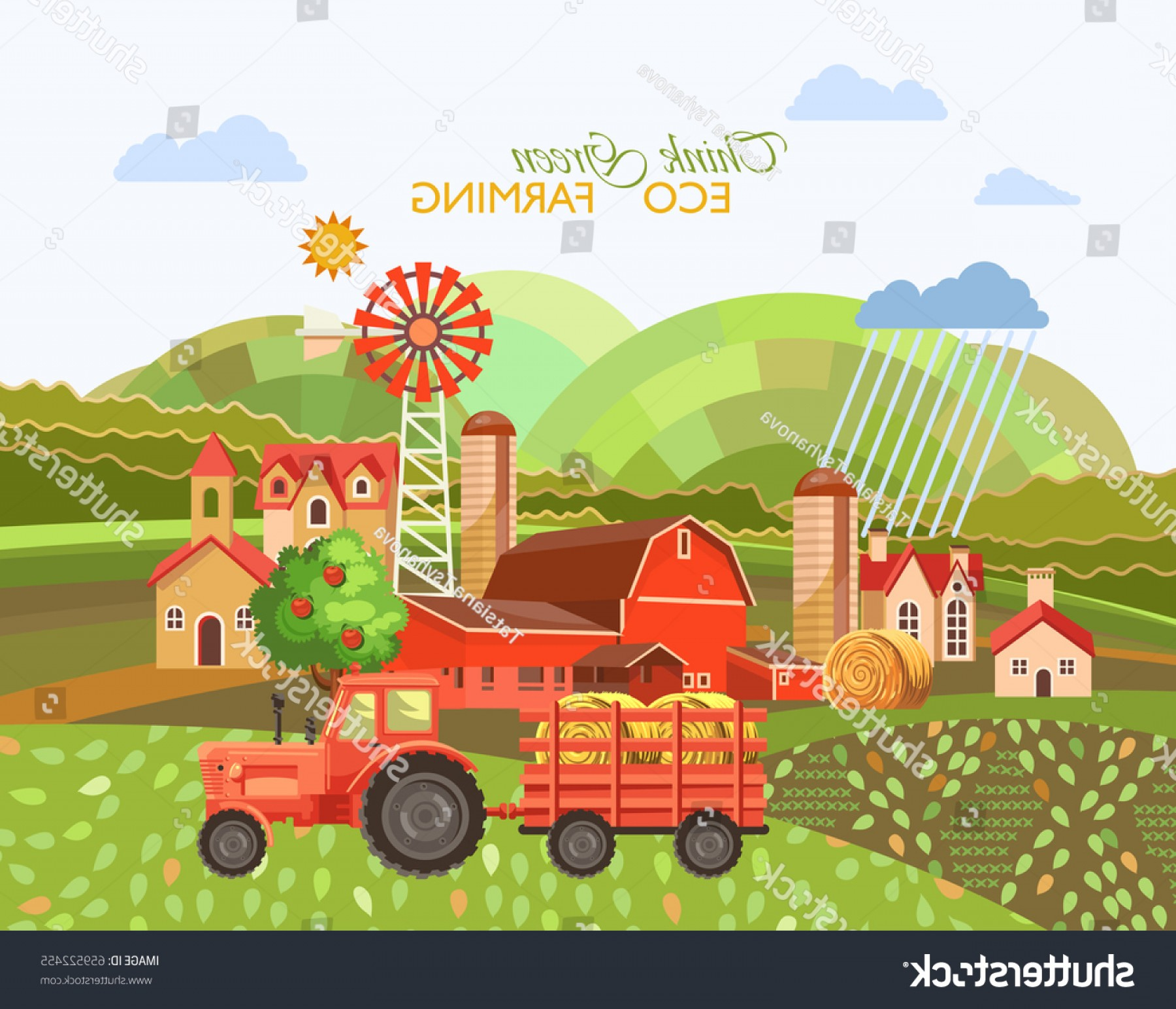 Farm Vector Illustration: Eco Farm Vector Illustration Farmland Poster