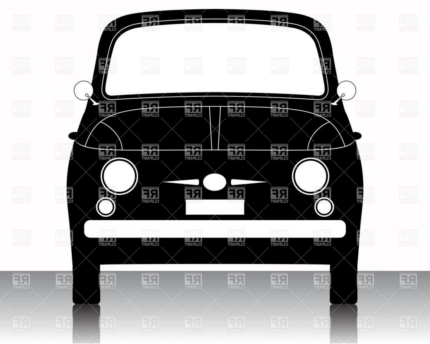 Car Silhouette Vector Free: Economy Car Silhouette Front View Vector Clipart