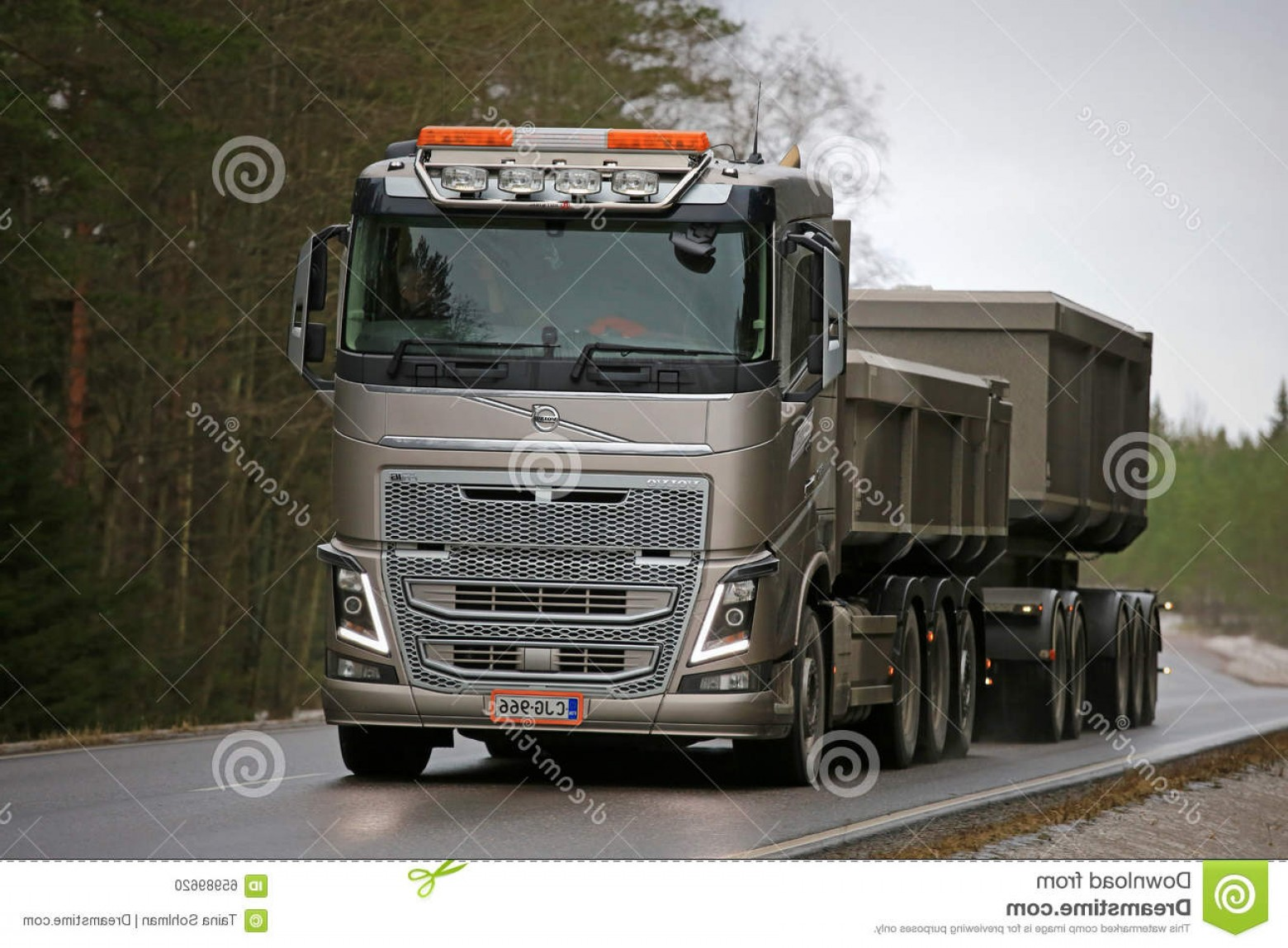 Volvo FH Vector: Editorial Image Bronze Volvo Fh Combination Truck Road Salo Finland January Construction South Finland Average Drivers Can Save Image