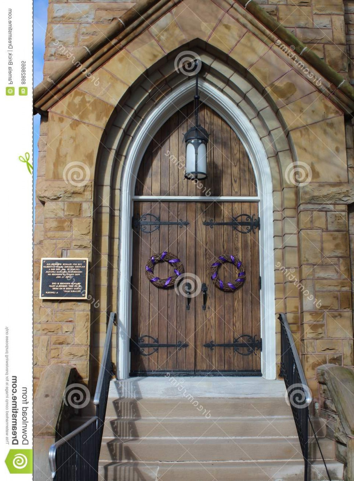 Arch Vector Illinios: Editorial Image Lenten Wreaths Grace Lutheran Church Doors Springfield Il Decorate Historic Illinois Quotation Abraham Image