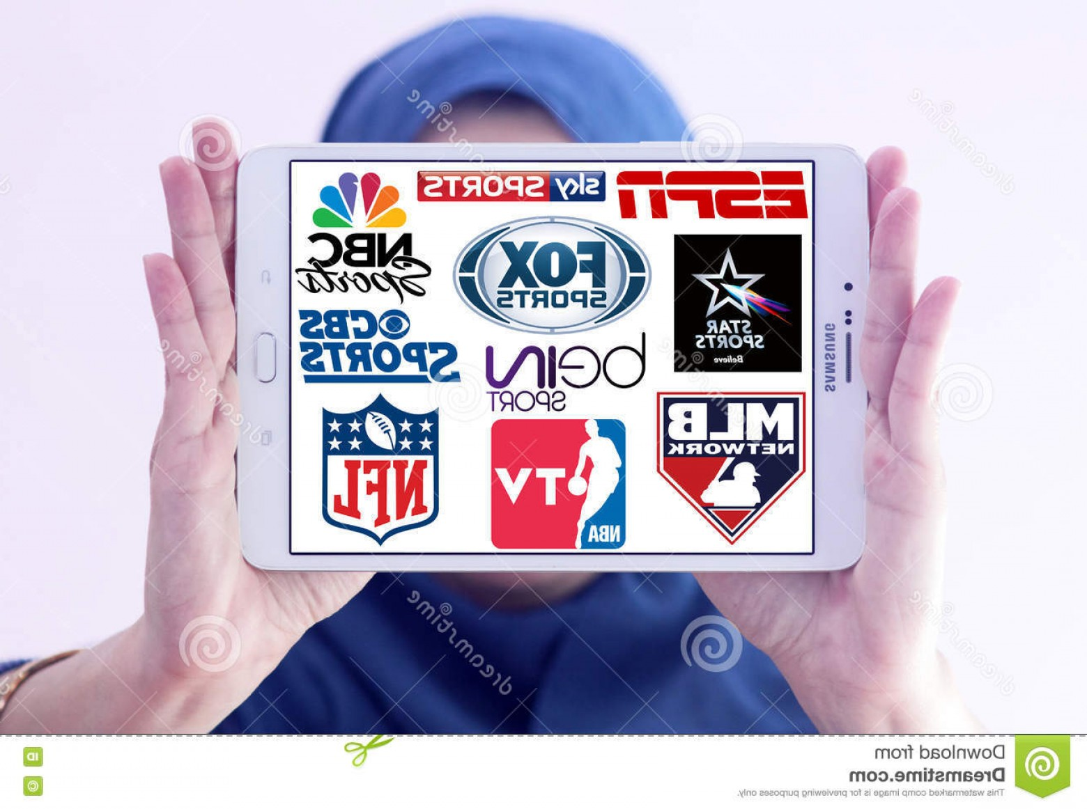 MLB Vectors: Editorial Image Logos Top Famous Tv Sports Channels Networks Collection Vectors Most Popular Television World White Tablet Holded Image