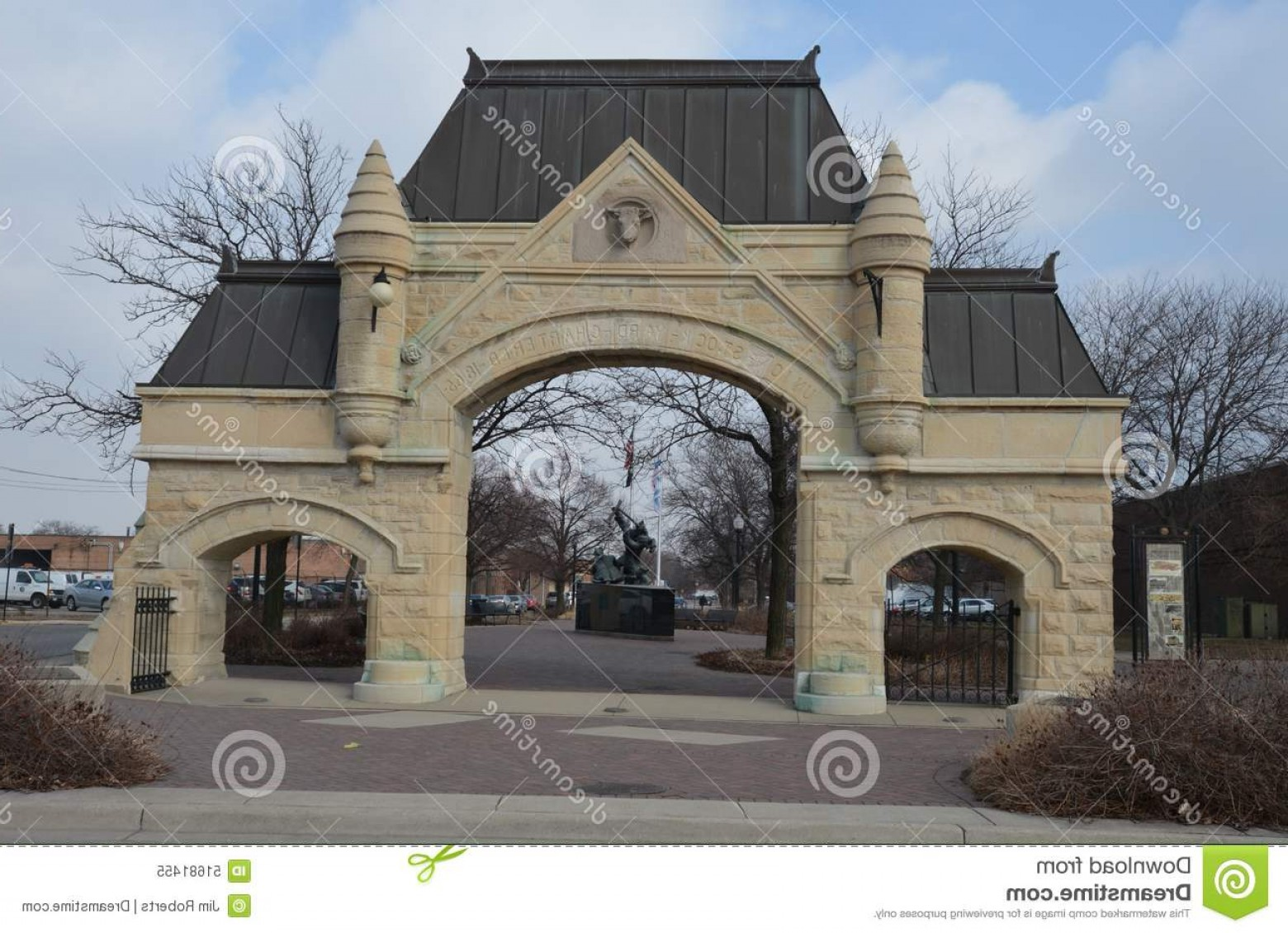 Arch Vector Illinios: Editorial Image Union Stock Yard Gate Early Spring Picture Preserved Entrance Chicago Illinois Stone Arch Was Image