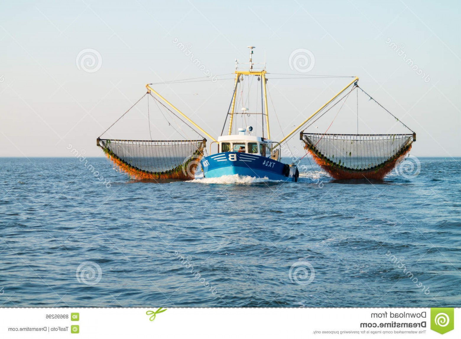 Vector Art Shrimper: Editorial Photo Fishing Boat Shrimp Trawler Fishing Waddensea Netherlands Commercial Outrigger Image